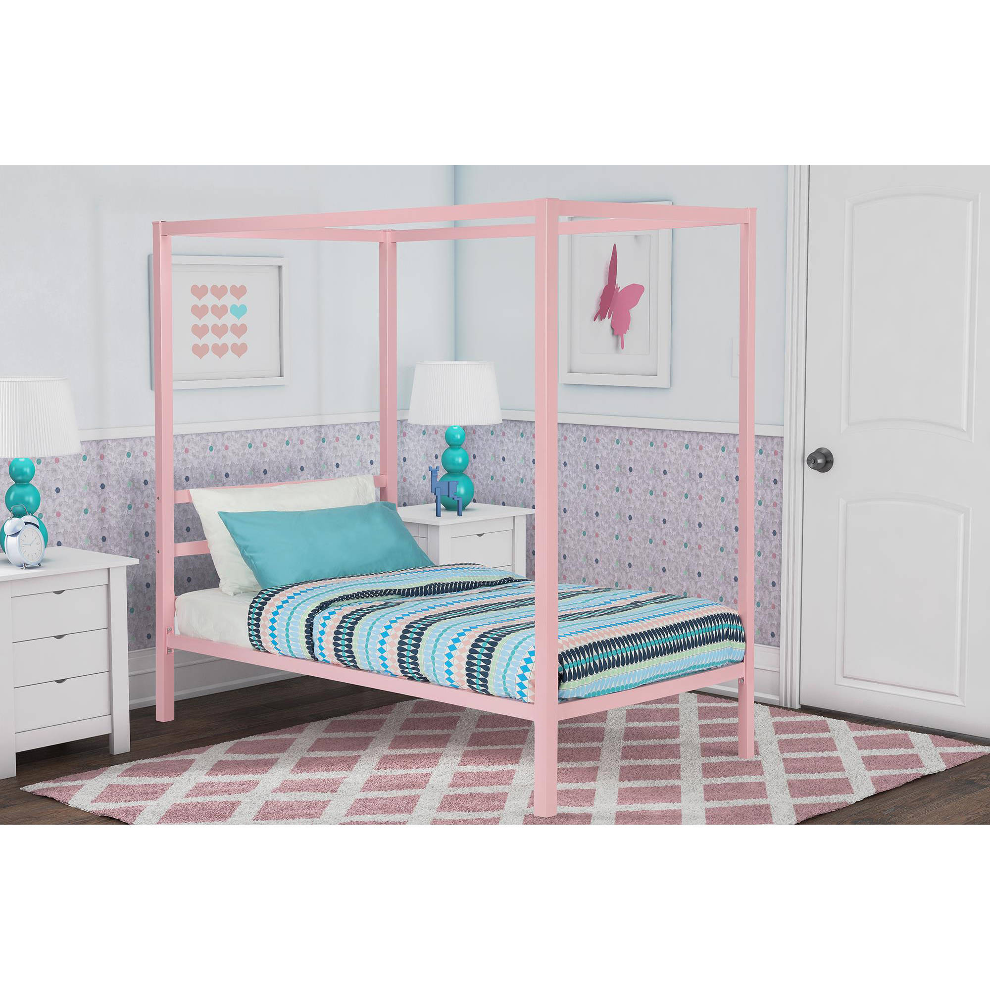 DHP Modern Metal Twin Canopy Bed in Pink Rose Quartz | eBay