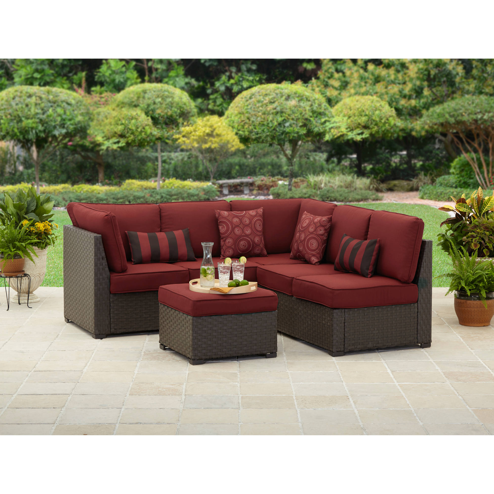 Details about Better Homes and Gardens Rush Valley 3-Piece Outdoor Sectional Sofa Set Seats  sc 1 st  eBay & Better Homes and Gardens Rush Valley 3-Piece Outdoor Sectional Sofa ...