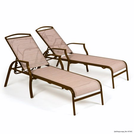 Set Of 2 Chaise Lounges Tan Color Chair Patio Pool