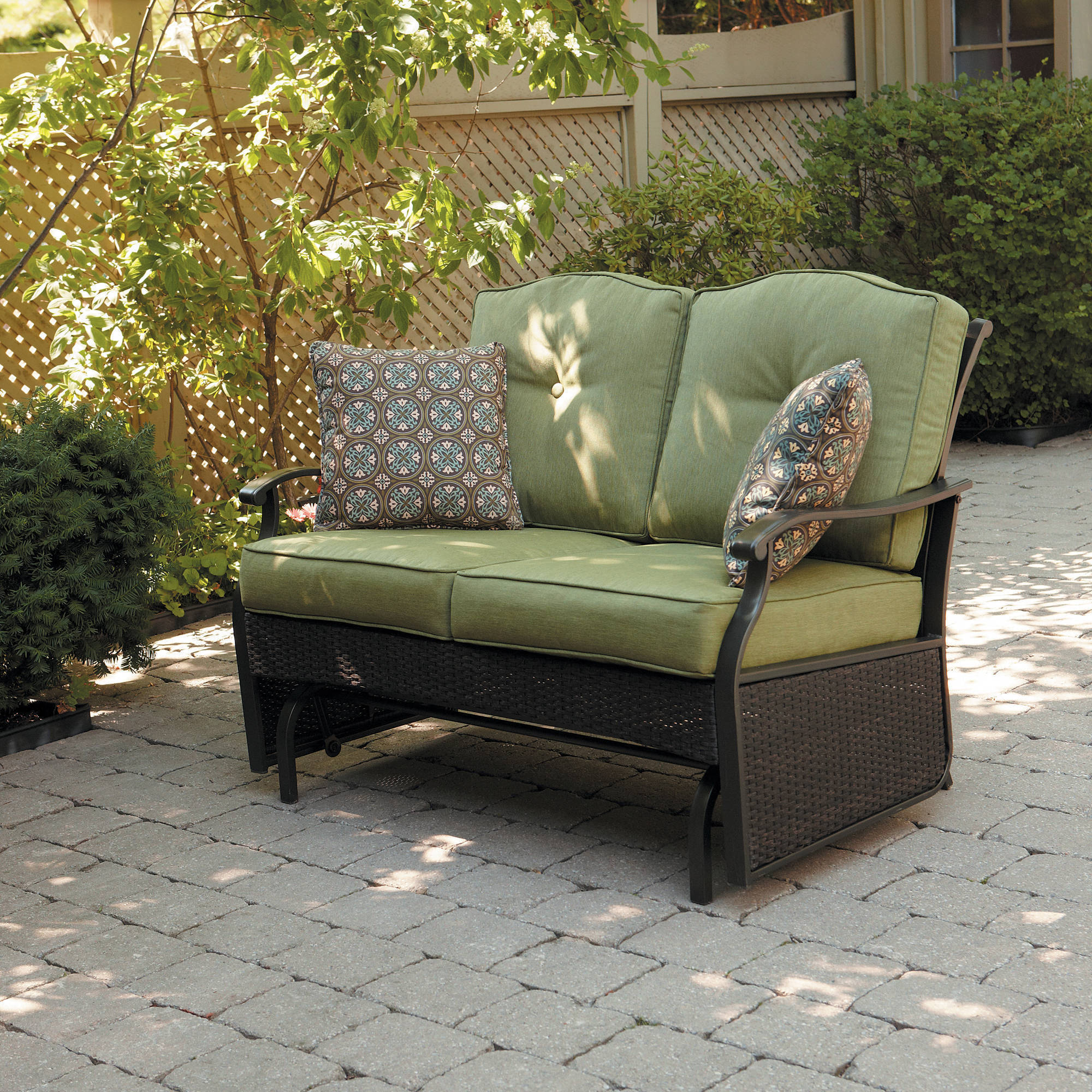 Details About Better Homes And Gardens Providence Outdoor Glider Bench Green Seats 2