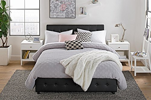Queen Size Bed Frame With Shoe Storage Tufted Headboard
