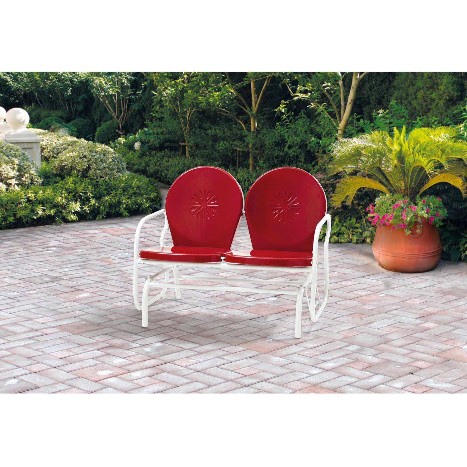 Details About Mainstays Retro Metal Glider Red Seats 2
