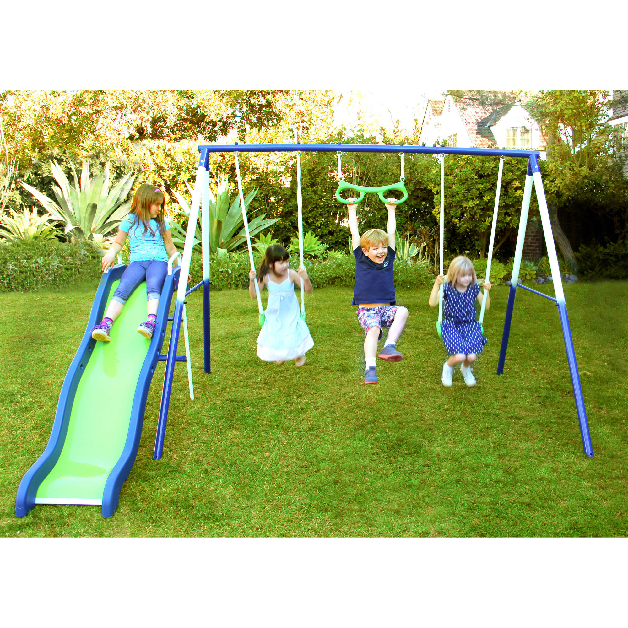 set cob gray backyard metal grey sets grande products discovery castle swing