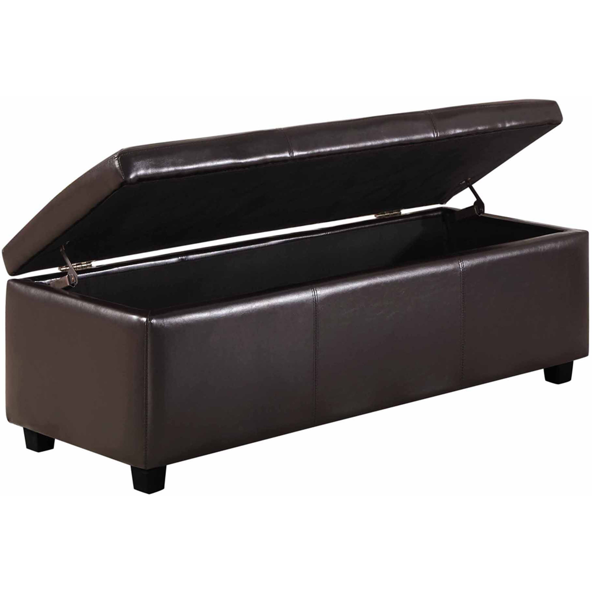 Simpli Home Avalon Rectangular Faux Leather Storage Ottoman Bench | EBay