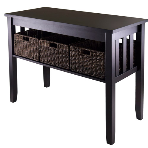 Morris Console Table With 3 Baskets Espresso