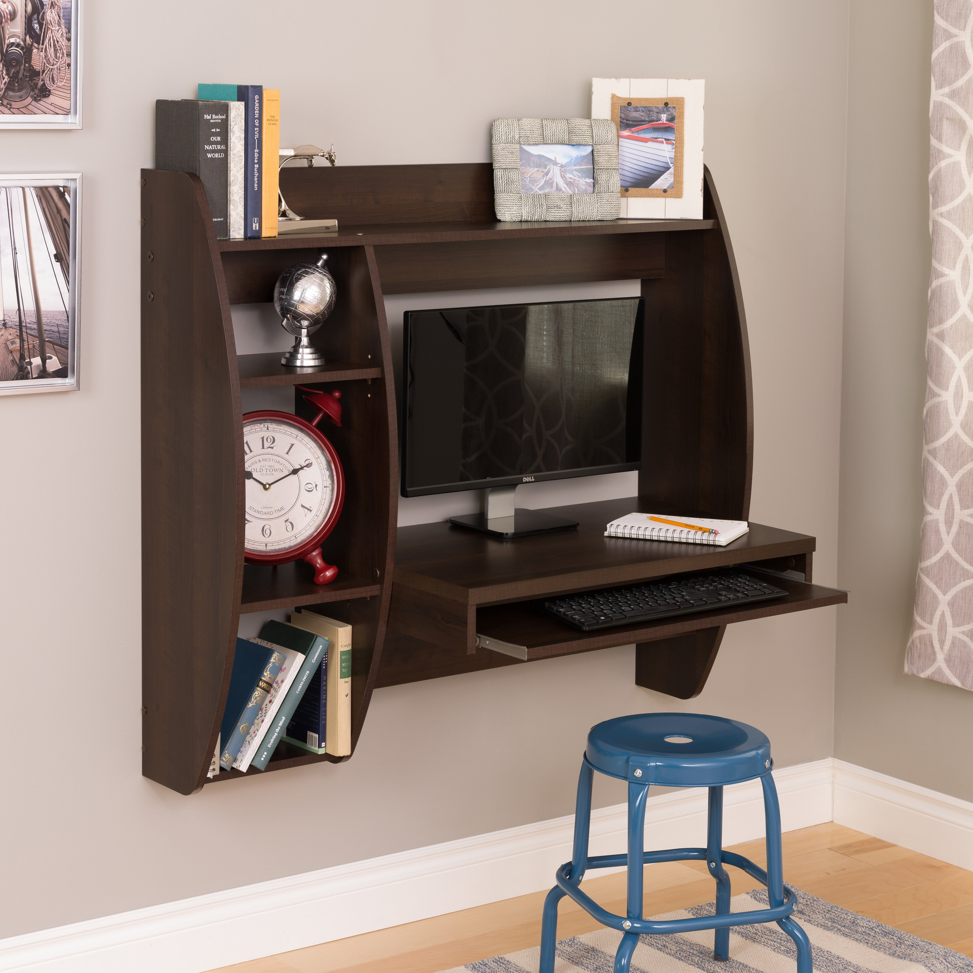 Prepac Espresso Floating Desk With Storage And Keyboard Tray About This Picture 1 Of 2