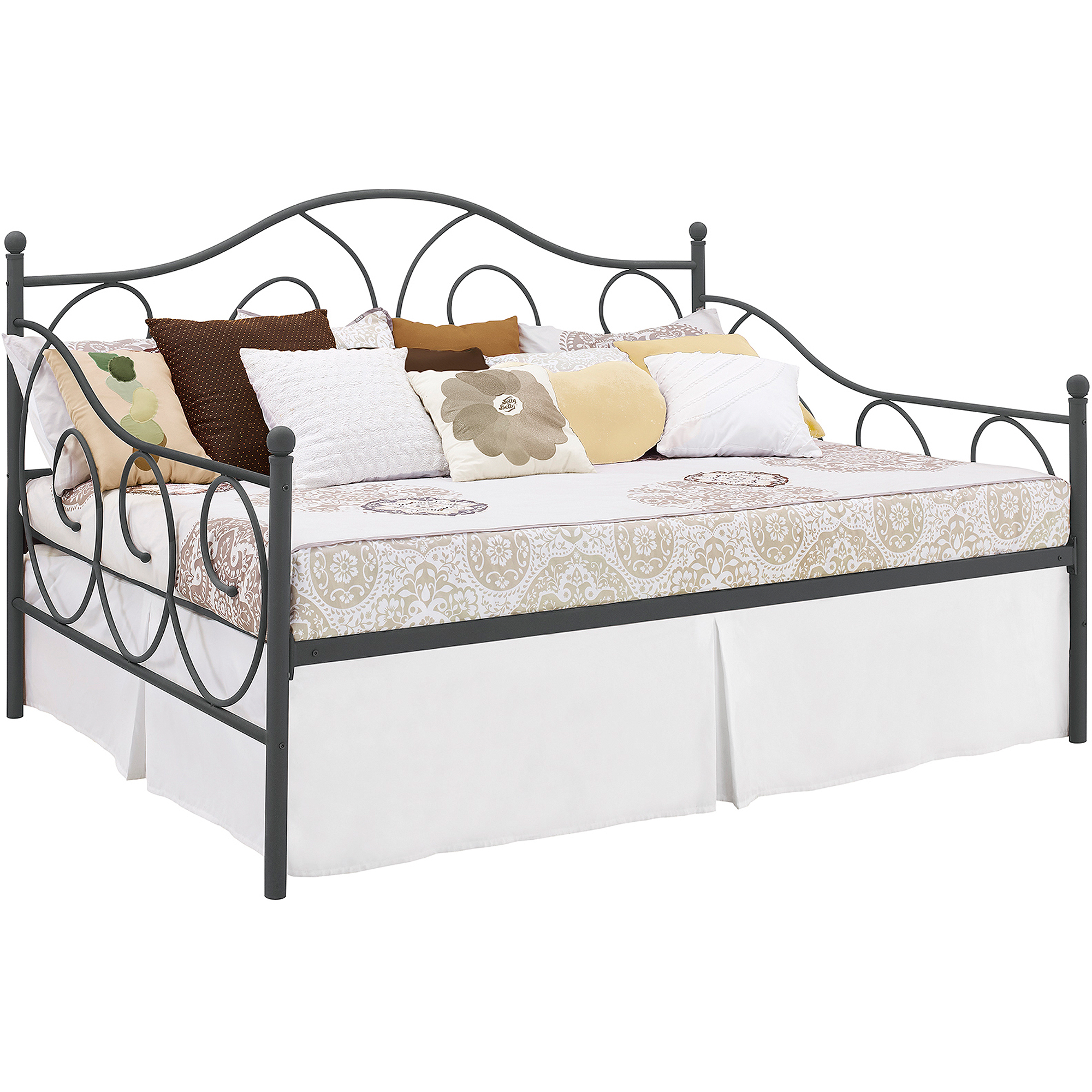 DHP Victoria Full Size Metal Daybed Pewter Bed