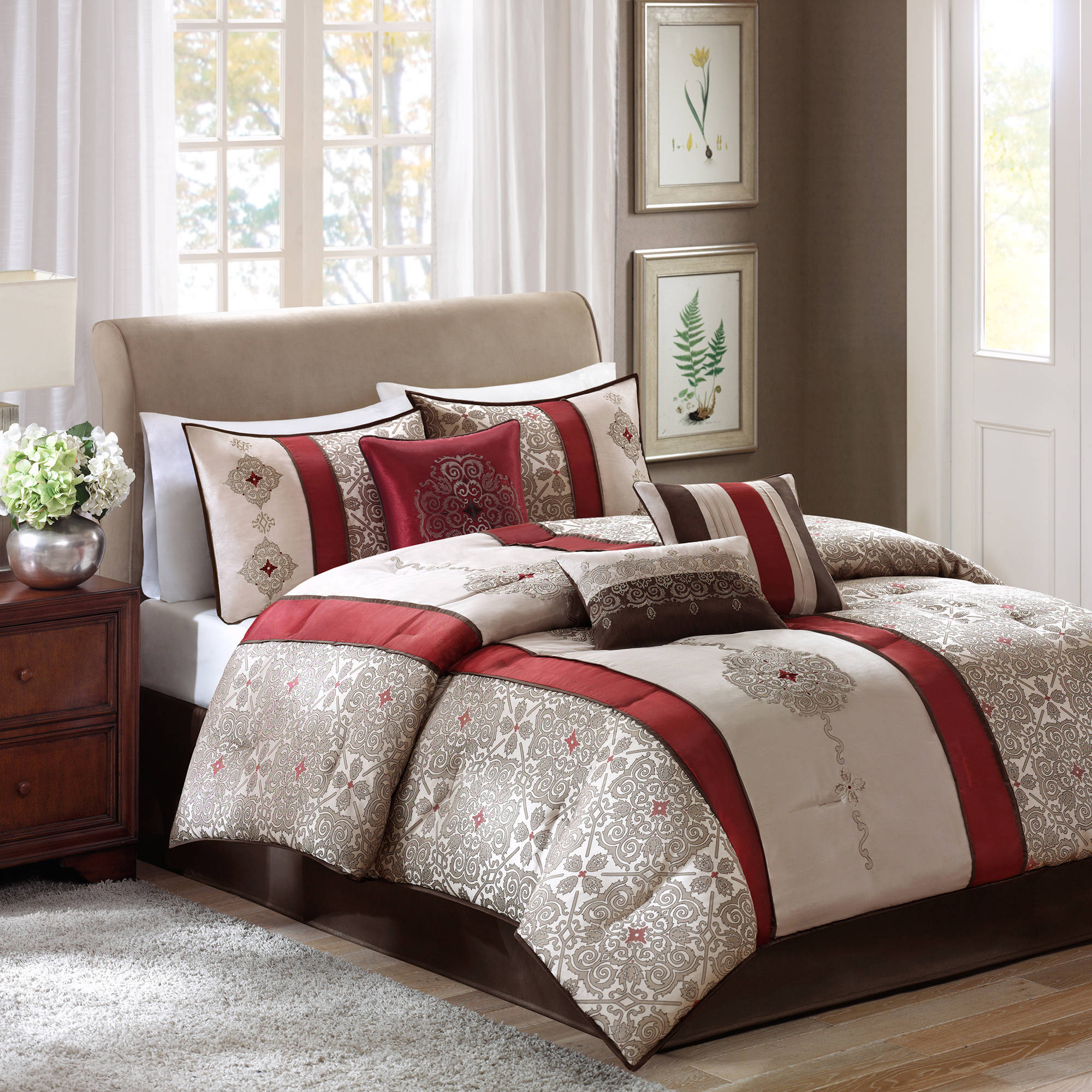 red bedroom set. Picture 1 of 6  Madison Park Blaine Taupe Red Brown Stripe Cal King 7 PC Comforter