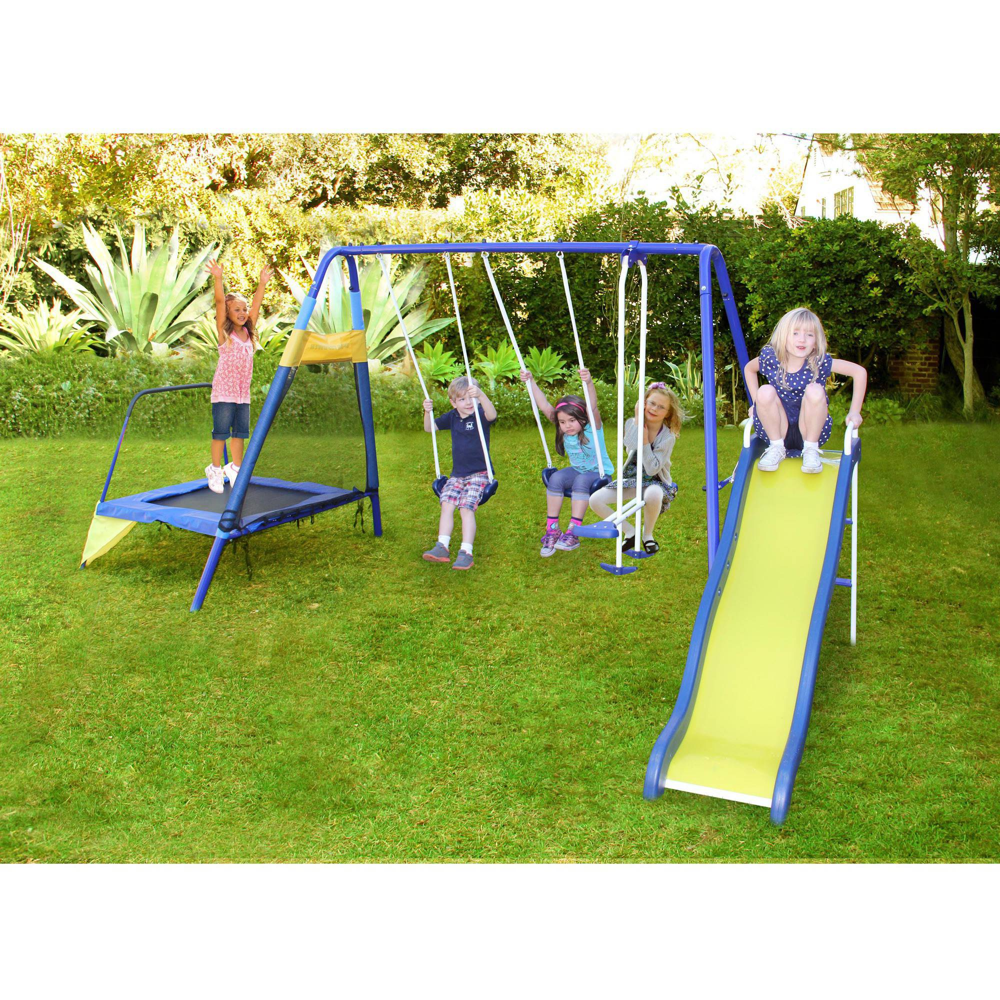 Sportspower Almansor Metal Swing Slide And Trampoline Set Ebay
