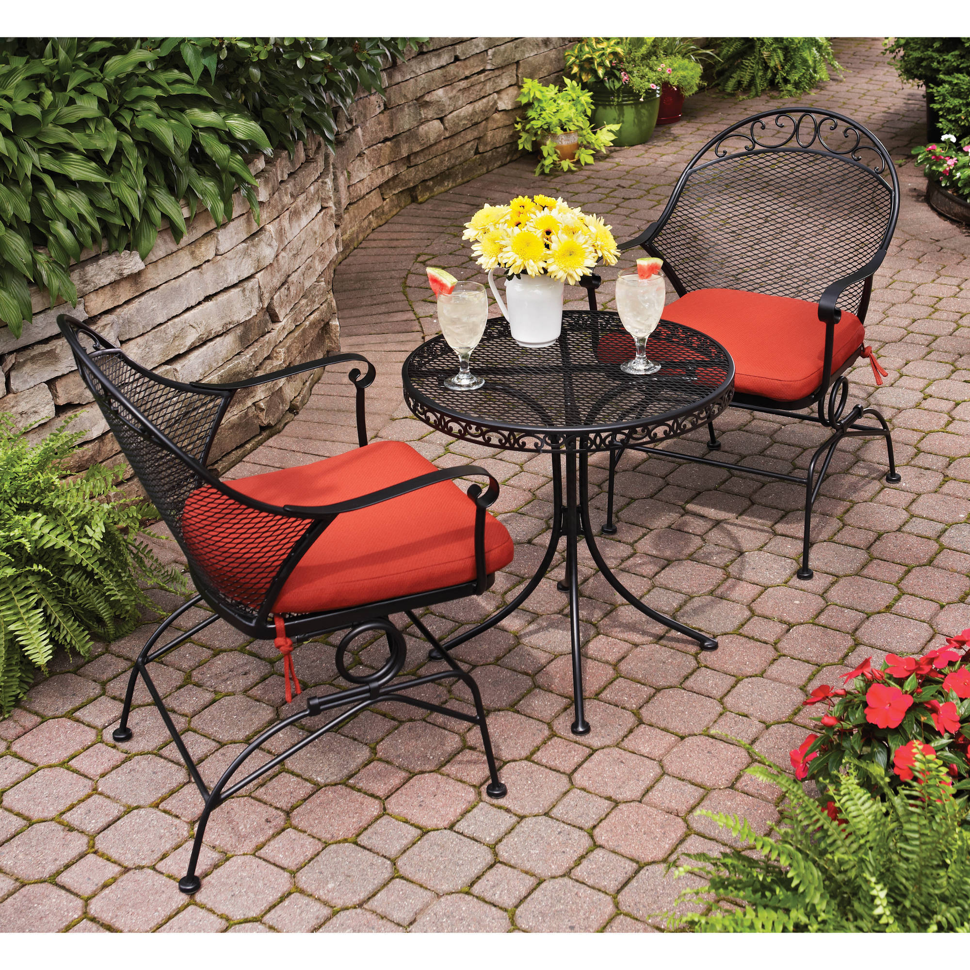 Bistro Patio Furniture.Details About 3 Piece Clayton Outdoor Bistro Set Uv Protection Water Stain Mildew Resistant
