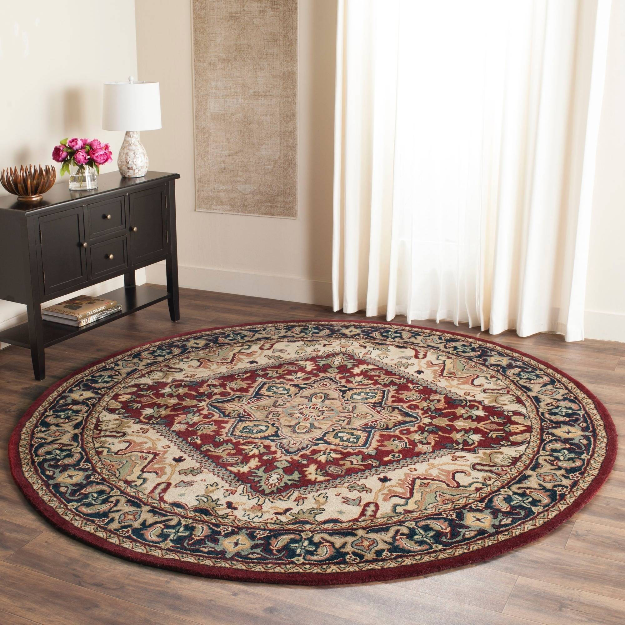 Safavieh Heritage Collection Hg625a Handmade Red Wool Round Area Rug 3 Feet 6
