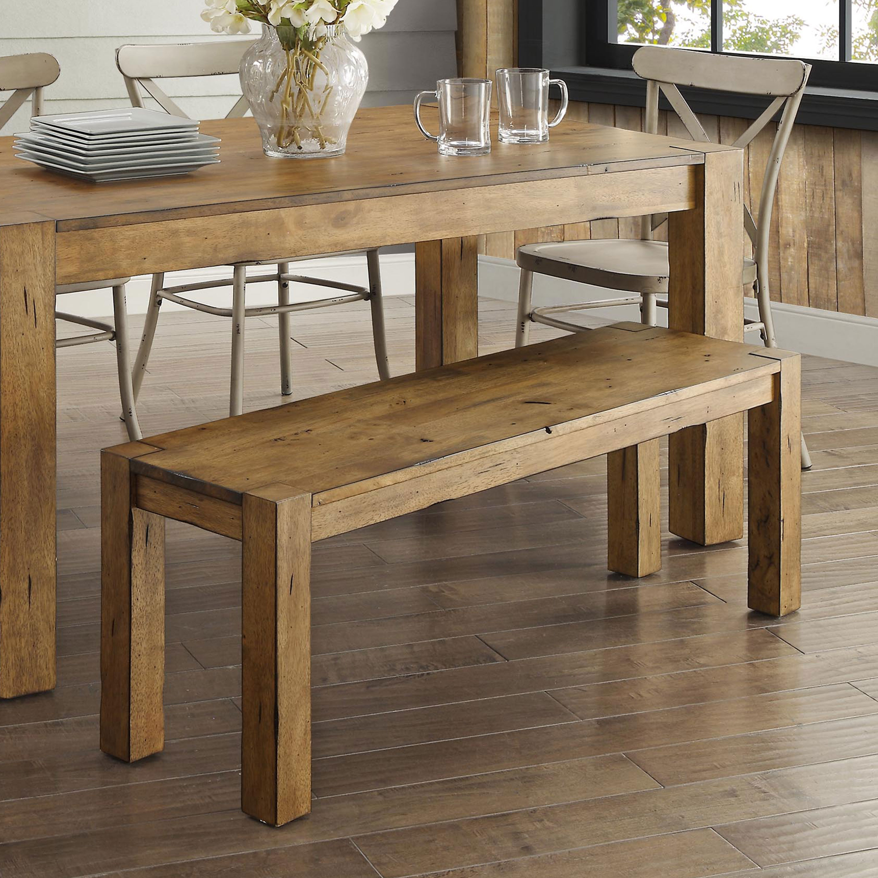 Better Homes Gardens Bryant Solid Wood Dining Bench Rustic Brown 764053505249 Ebay