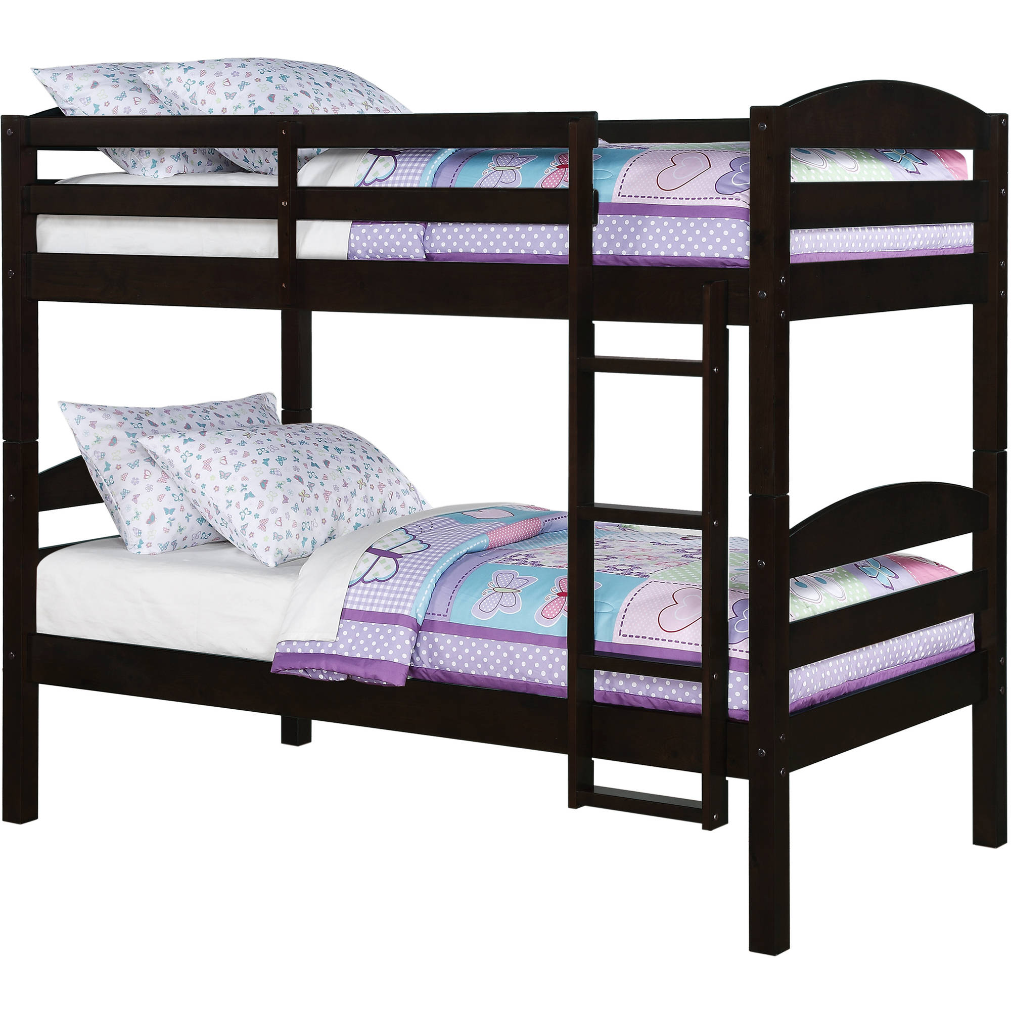 Bunk Beds Twin Over Twin Kids Furniture Bedroom Ladder Wood ...