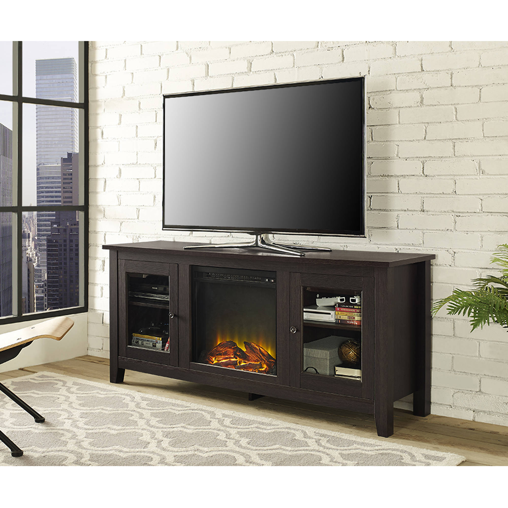 Wood Tv Stand With Fireplace For Tvs Up