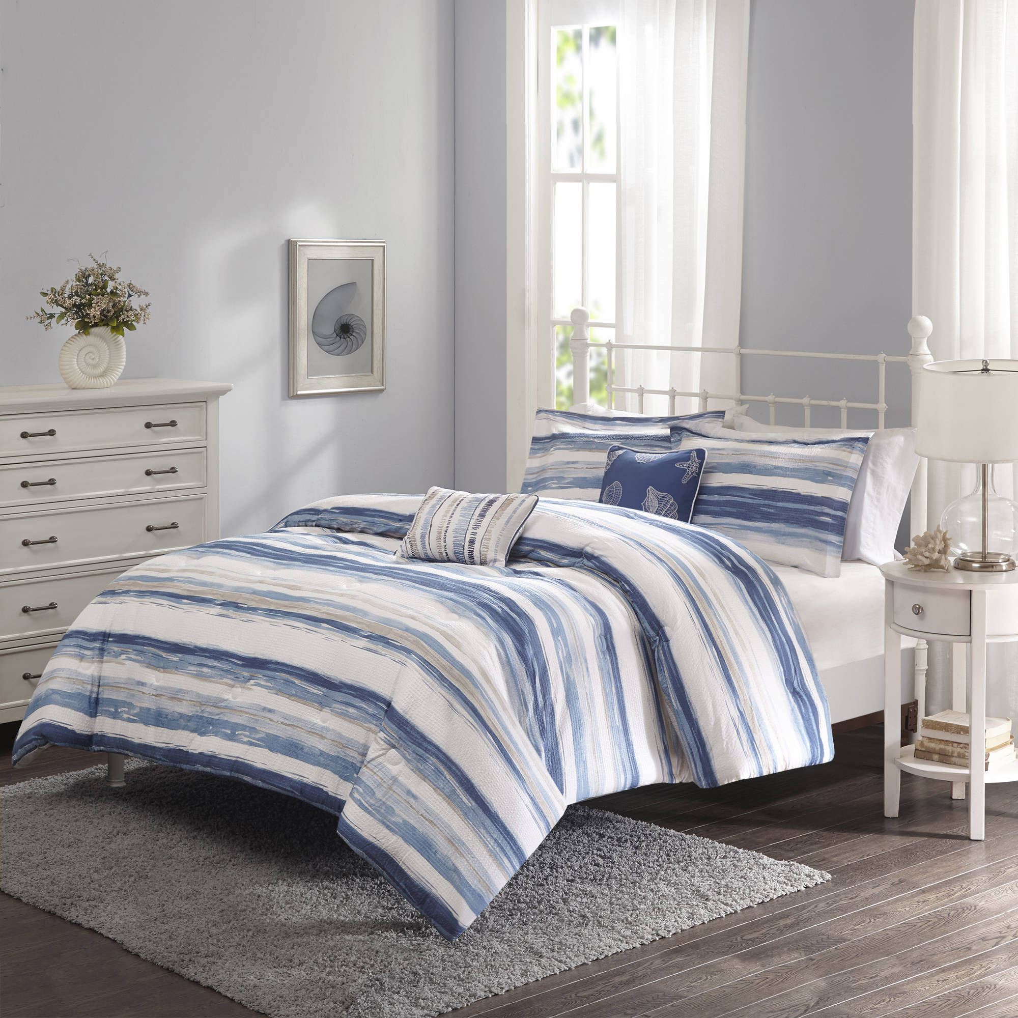 Blue Striped Bedding White Bed