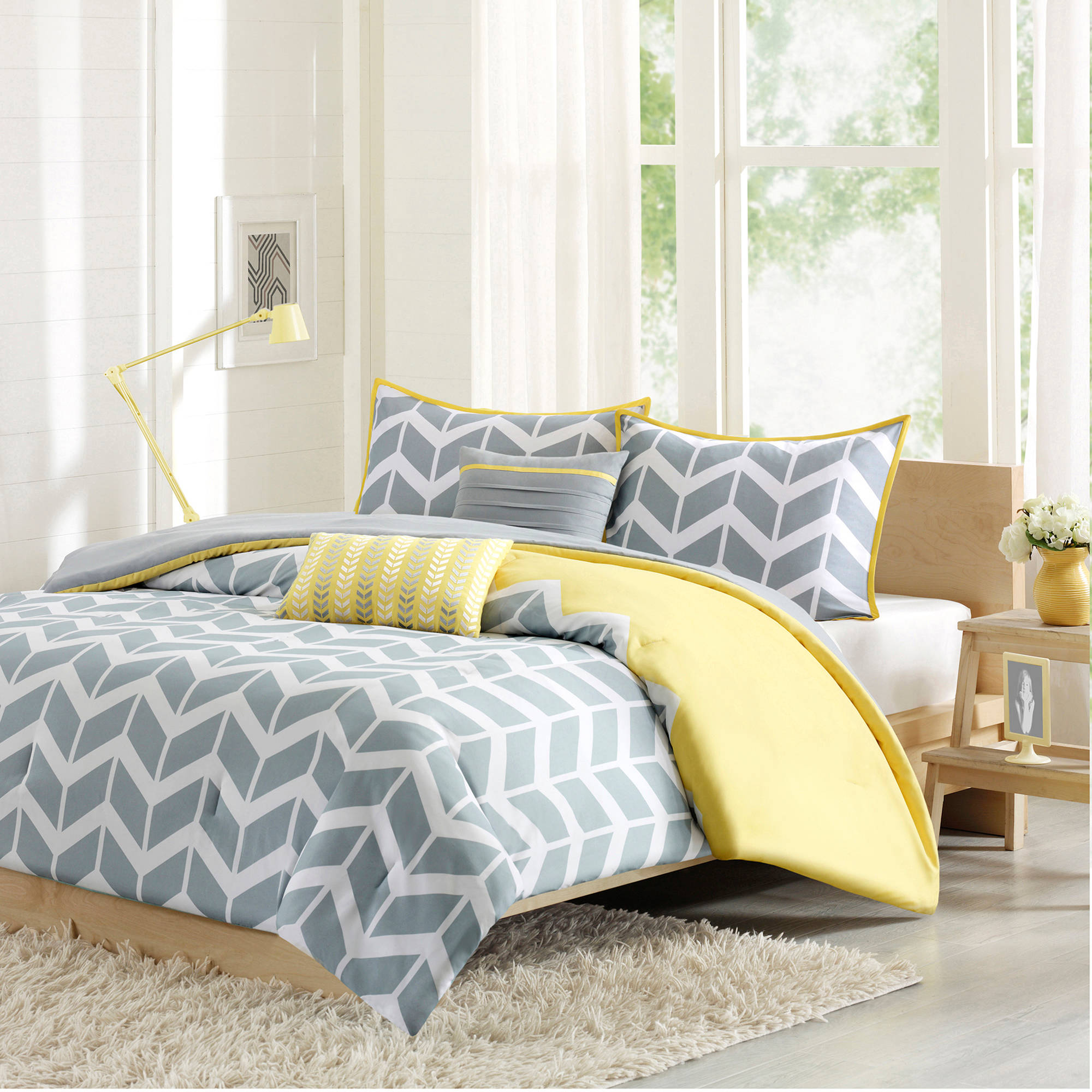 Comforter Set Queen Size Yellow Gray White Chevron Design Bedroom Bed  Bedspread