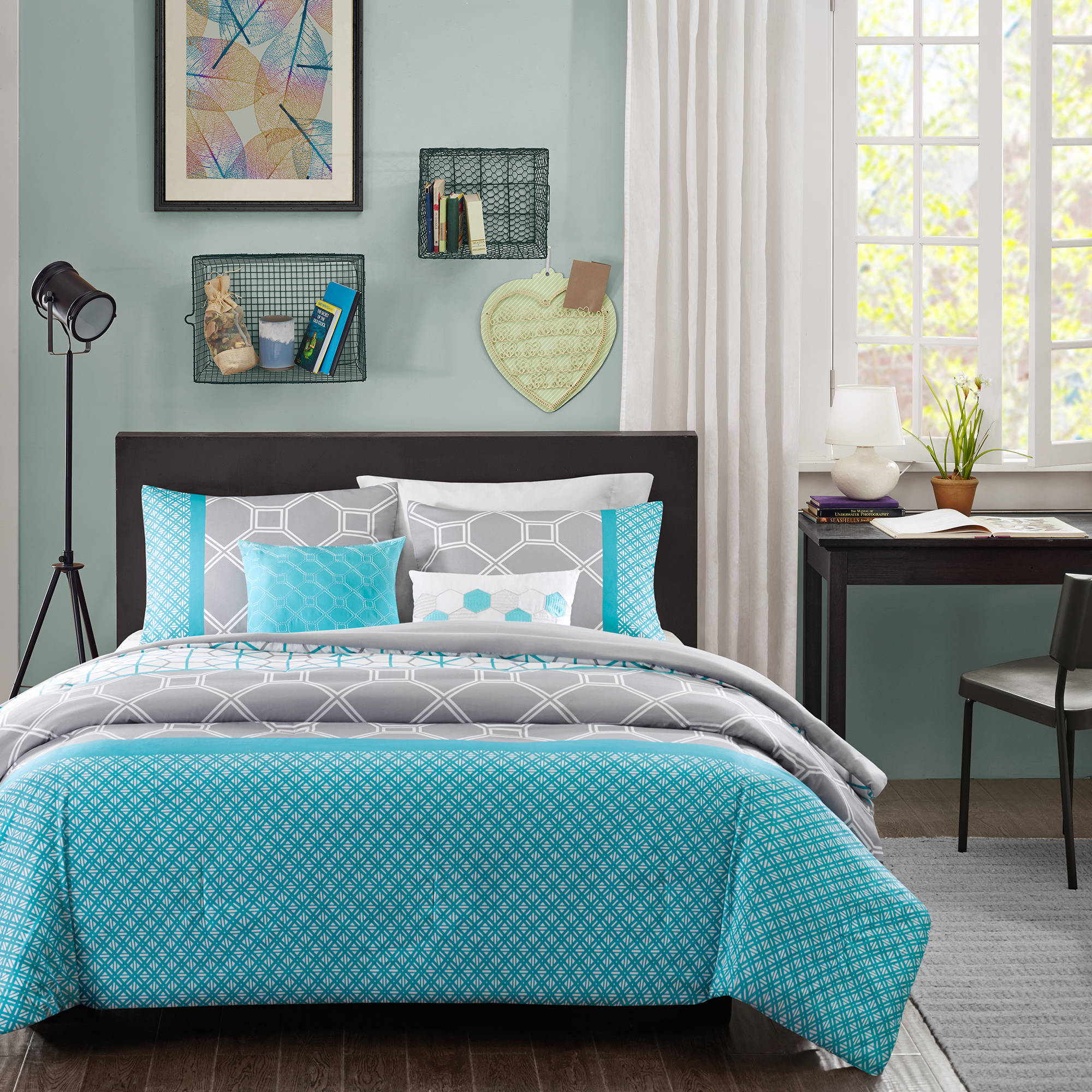 forter Bedroom 5 Piece Queen Bedding Aqua Blue Grey Set Winter