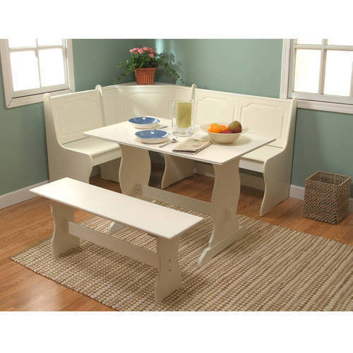 Superior Breakfast Nook 3 Piece Corner Dining Set, Antique White