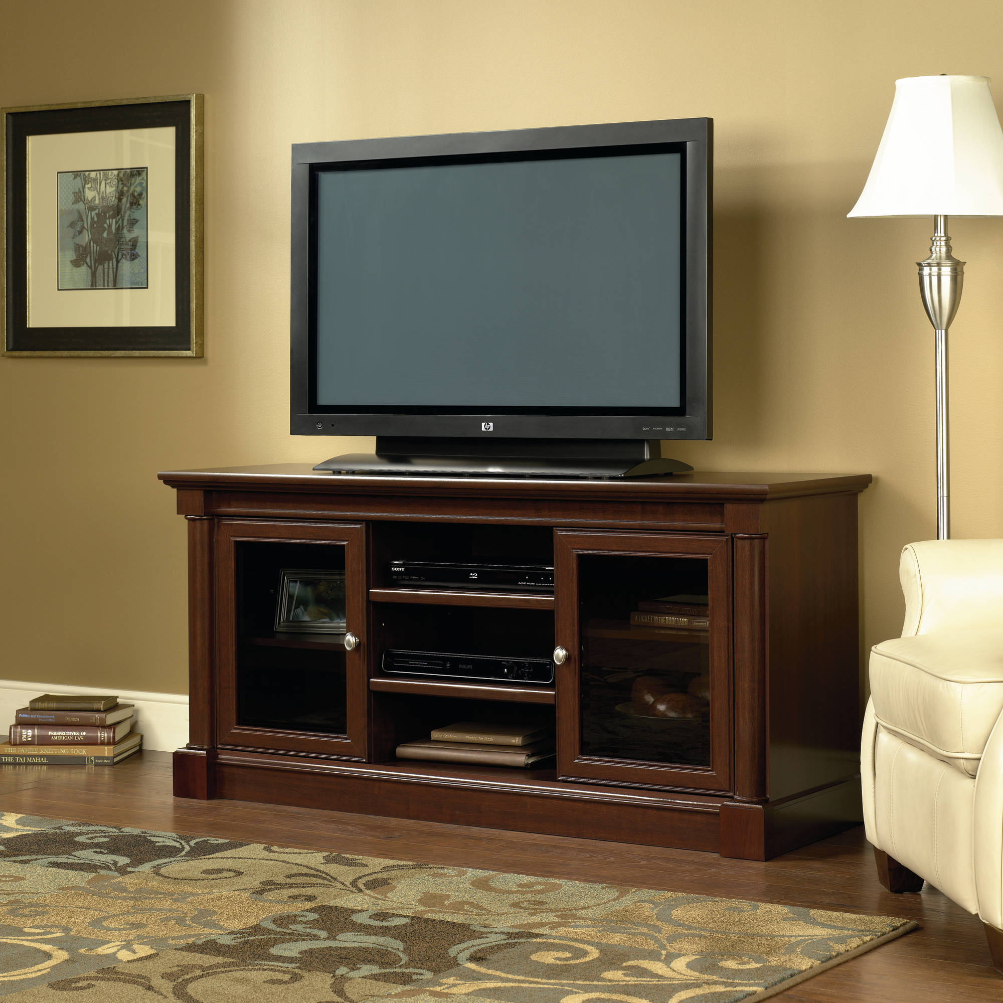 Sauder Palladia Entertainment Credenza For Tvs Up To 59 Cherry