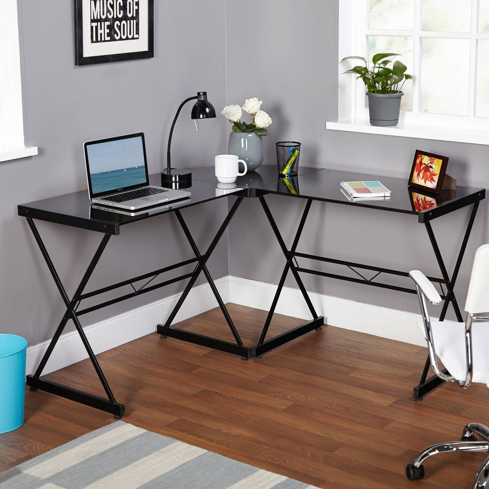 L Shape Office Desk Metal Gl Top Computer Workstation Corner