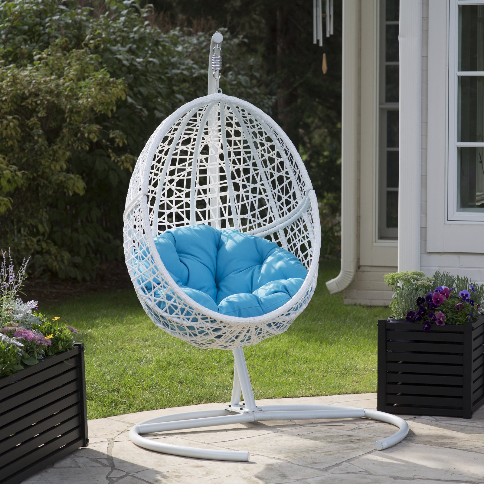 Details about Belham Living Resin Wicker Blanca Hanging Egg Chair with Cushion Color Option a & Belham Living Resin Wicker Blanca Hanging Egg Chair with Cushion ...
