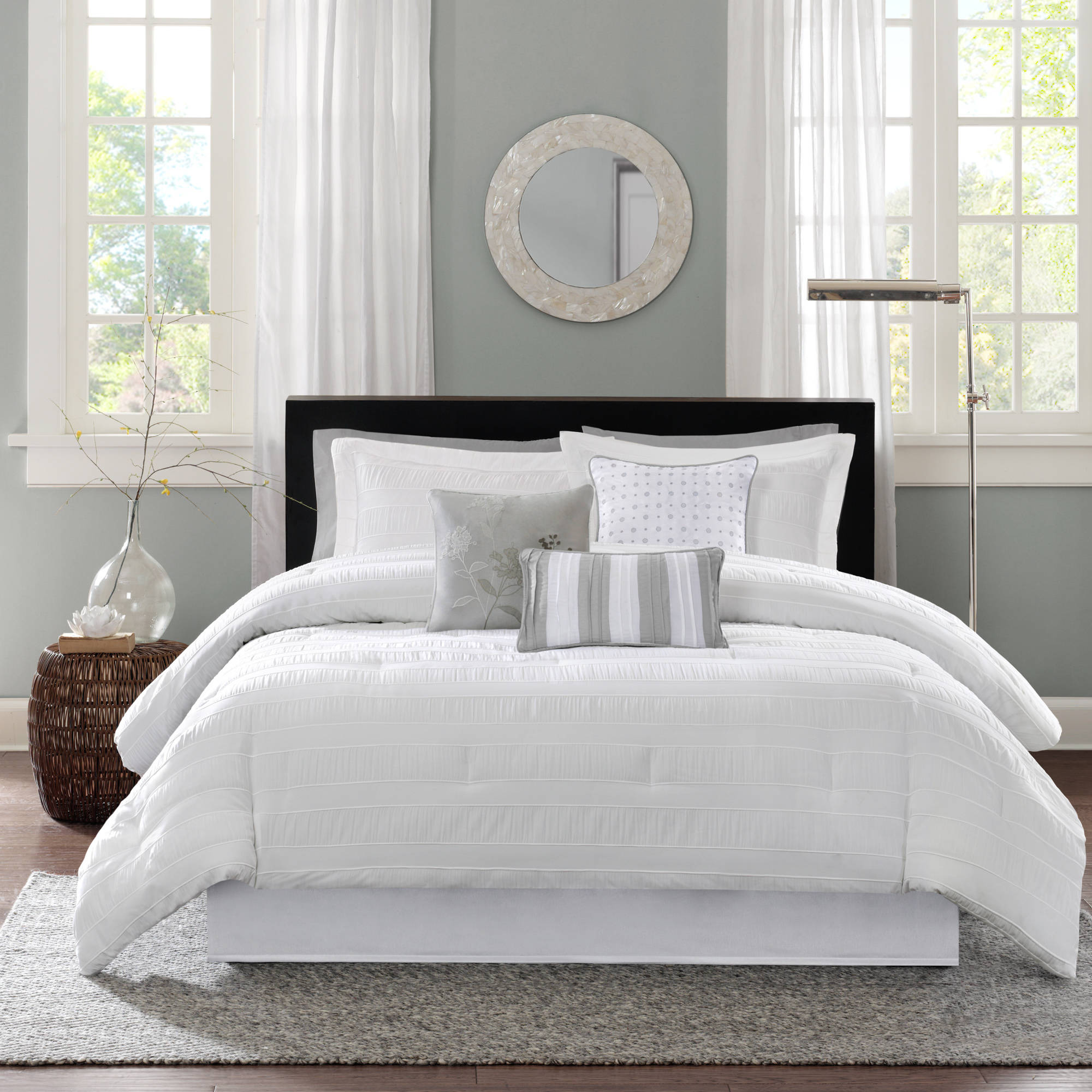 set king comforter white decor sets belle cal pc com lush products lushdecor piece
