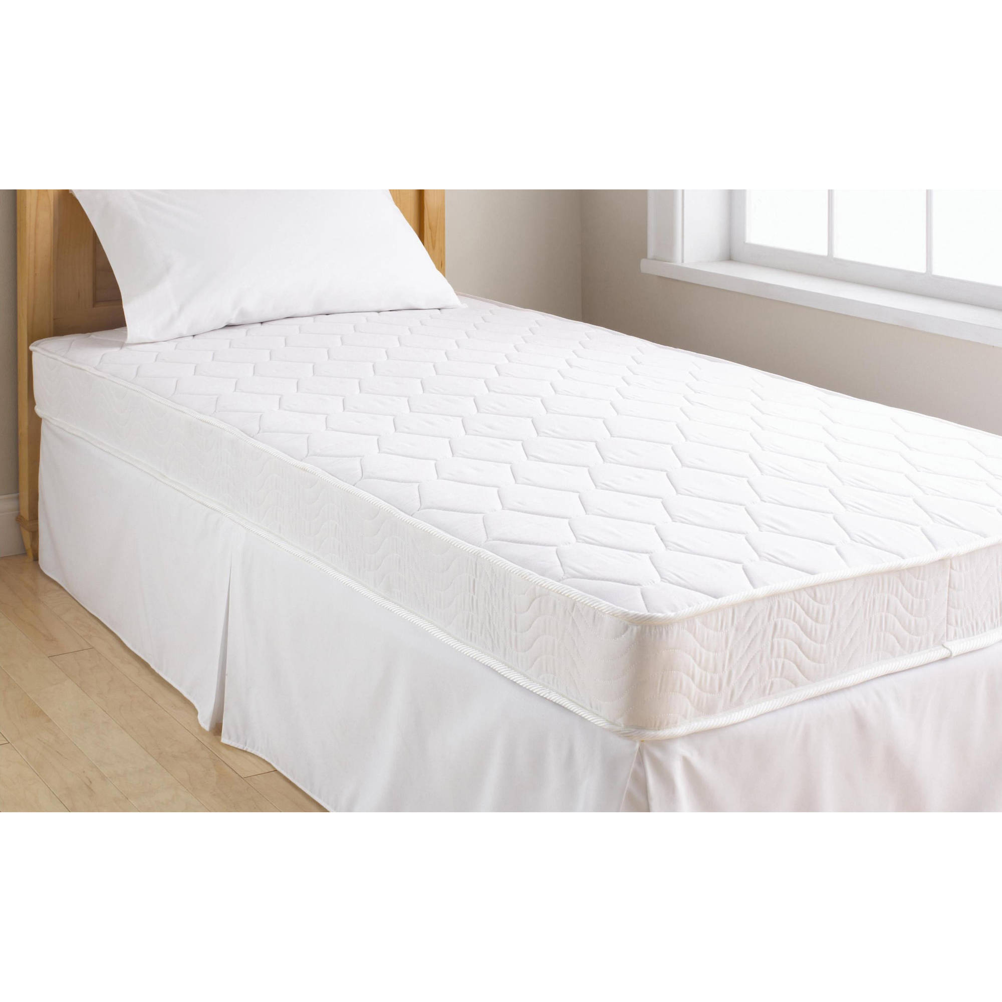 mainstays 6 coil mattress twin size and your choice of bedding set bundle ebay. Black Bedroom Furniture Sets. Home Design Ideas