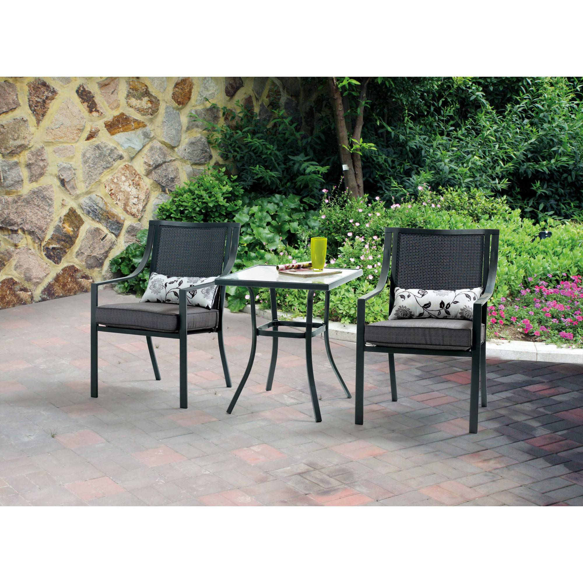 3 Piece Outdoor Weather Proof Bistro Patio Furniture Set Powder Coated Steel
