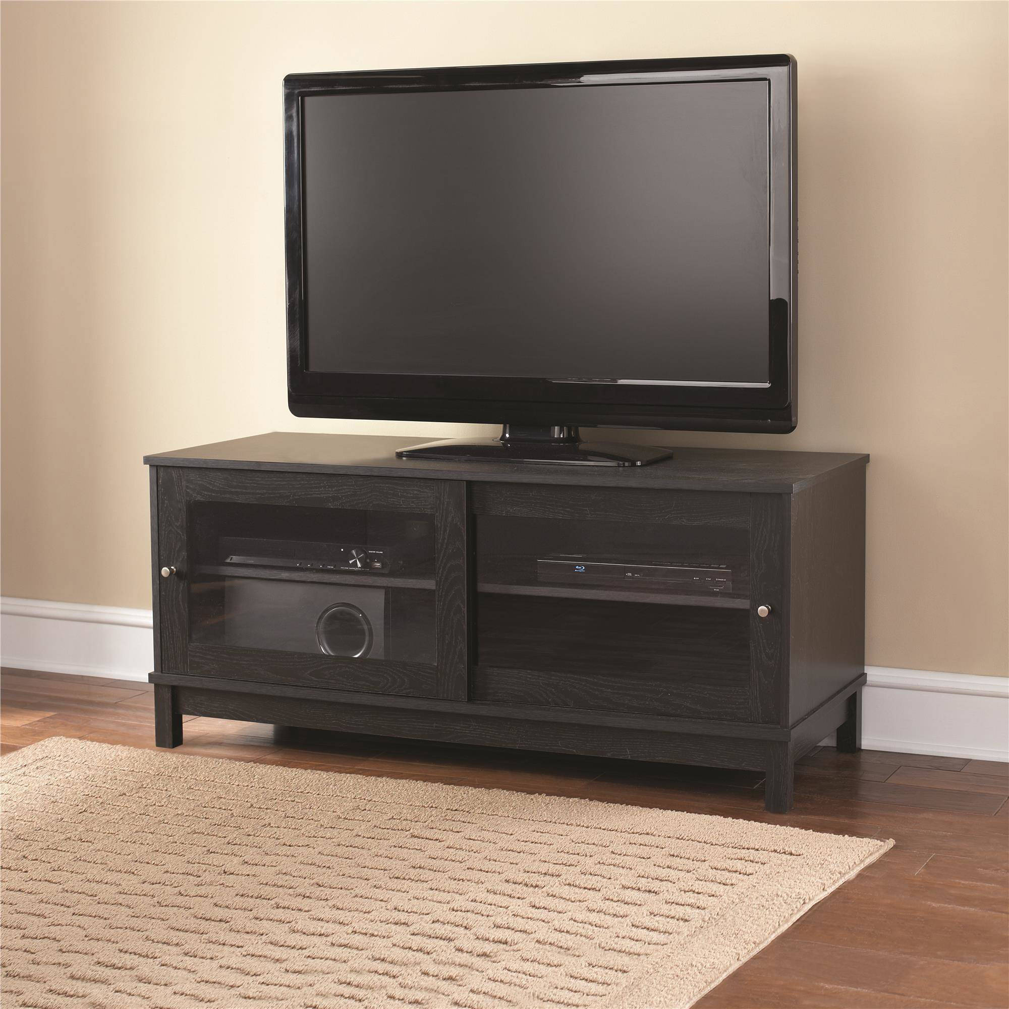 Mainstays 55 034 Tv Stand With Sliding Gl