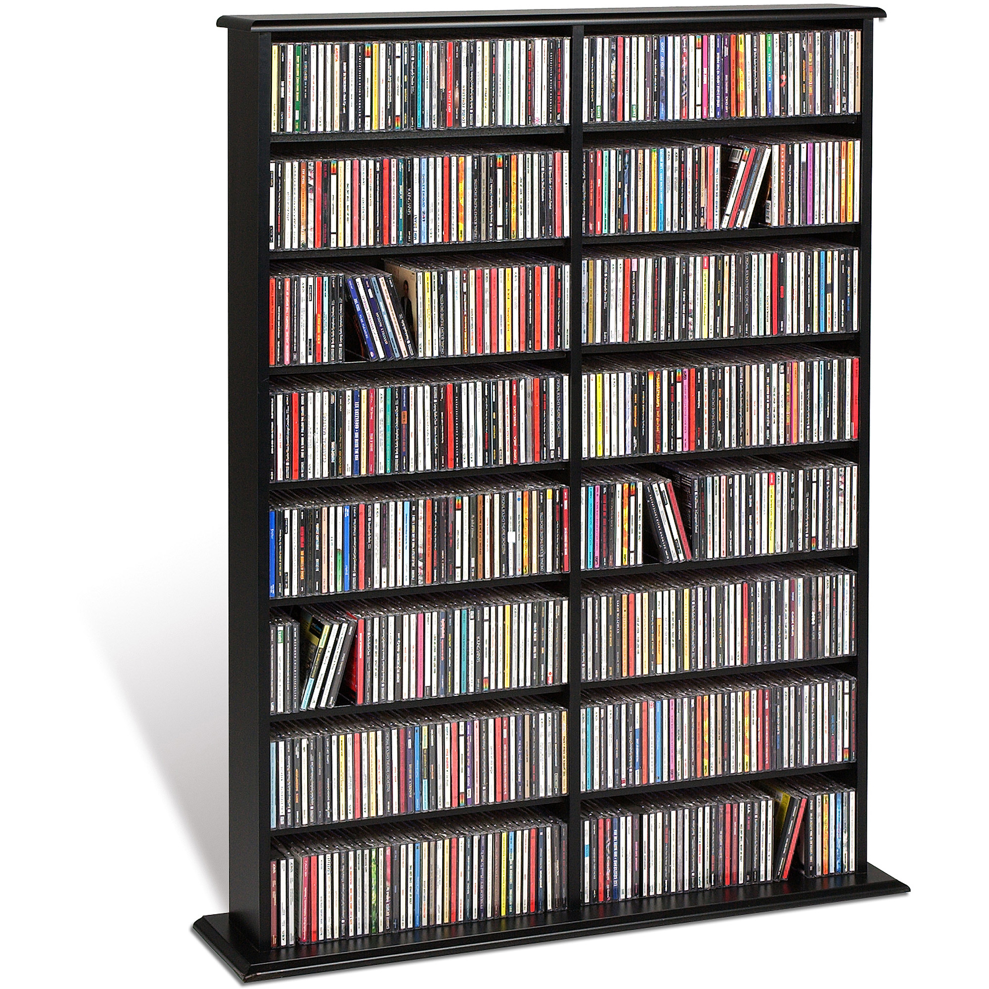 Stock photo; Picture 1 of 2 ...  sc 1 st  eBay & Prepac Black Double Width Wall Media (DVDCDGames) Storage Rack | eBay