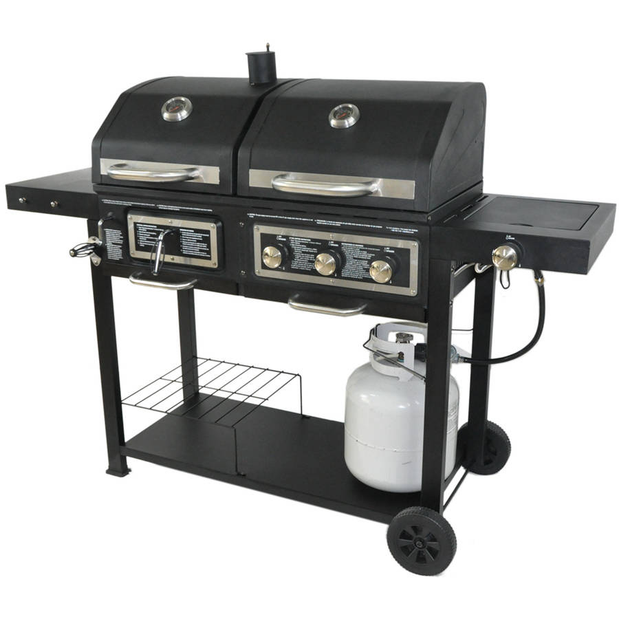 Backyard Grill Dual Gas Charcoal Burner Bbq Outdoor Propane Cooking New