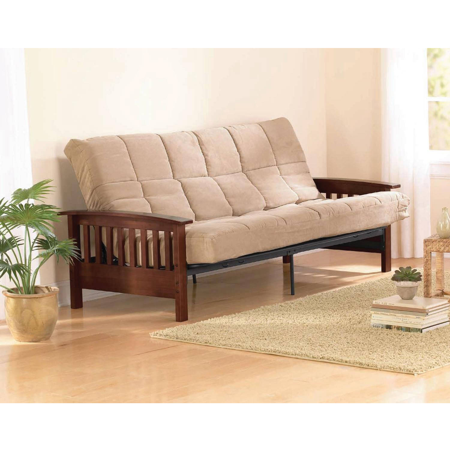 Details About Wood Futon Arms Frame Finish Sofa Bed With Mattress Full Size Sleeper Hardwood