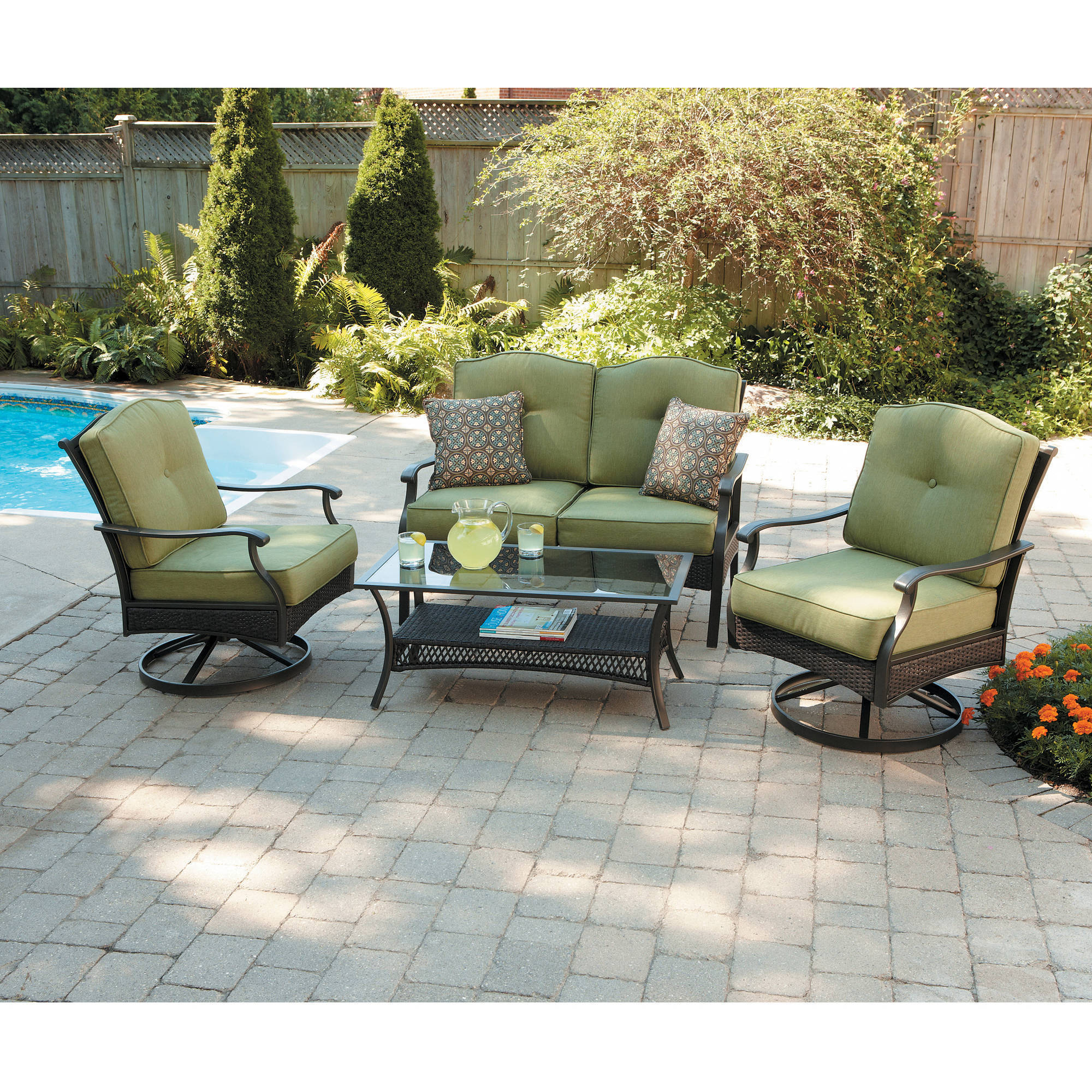 Details about better homes and gardens providence 4 piece patio conversation set seats 4