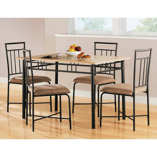 5 Piece Dining Set Wood Metal Frame Table And 4 Chairs: 5 Piece Dining Set Wood Metal 4 Chairs Kitchen Table