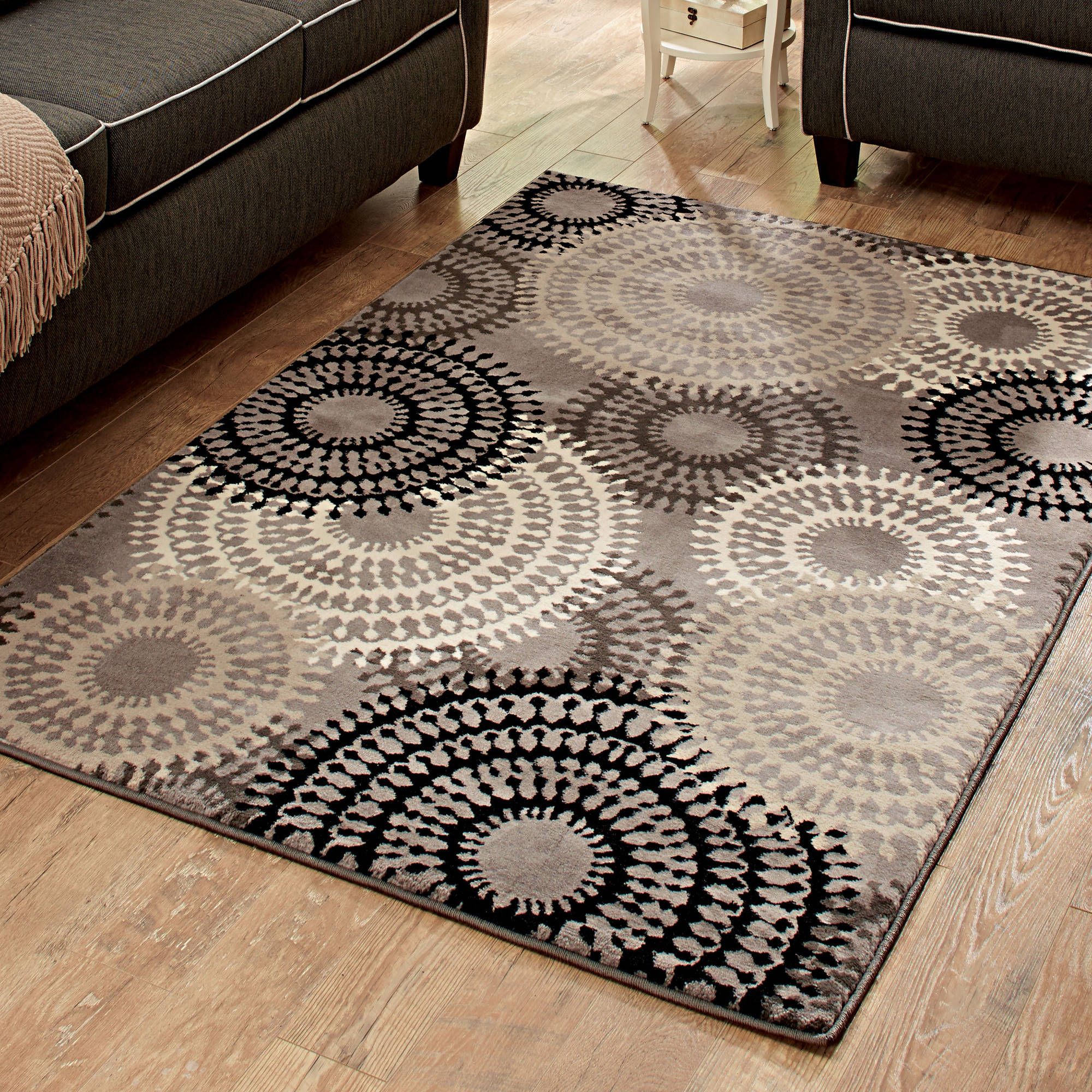Better Homes And Gardens Taupe Ornate Circles Olefin Area Rug