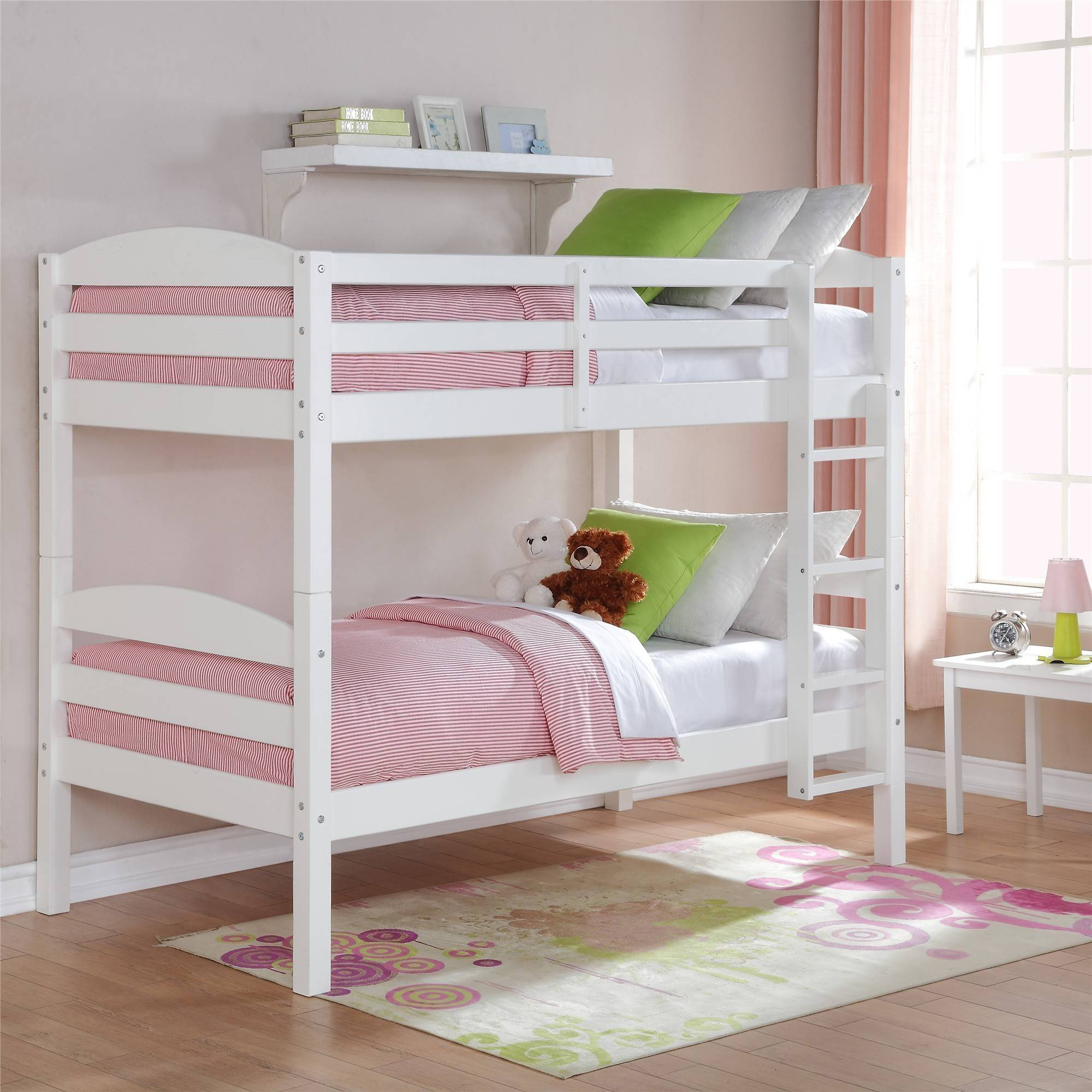 Mainstays Twin Over Twin Wood Bunk Bed Multiple Finishes Ebay