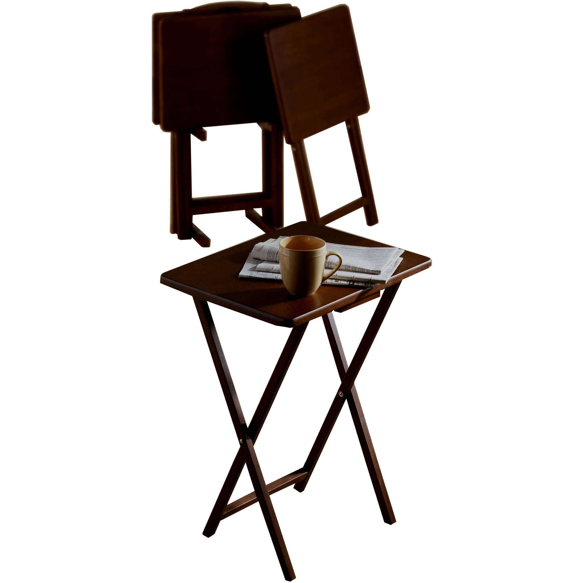 5 Piece Tray Table Set Folding Wood Tv Snack Dinner Couch Laptop Stand New