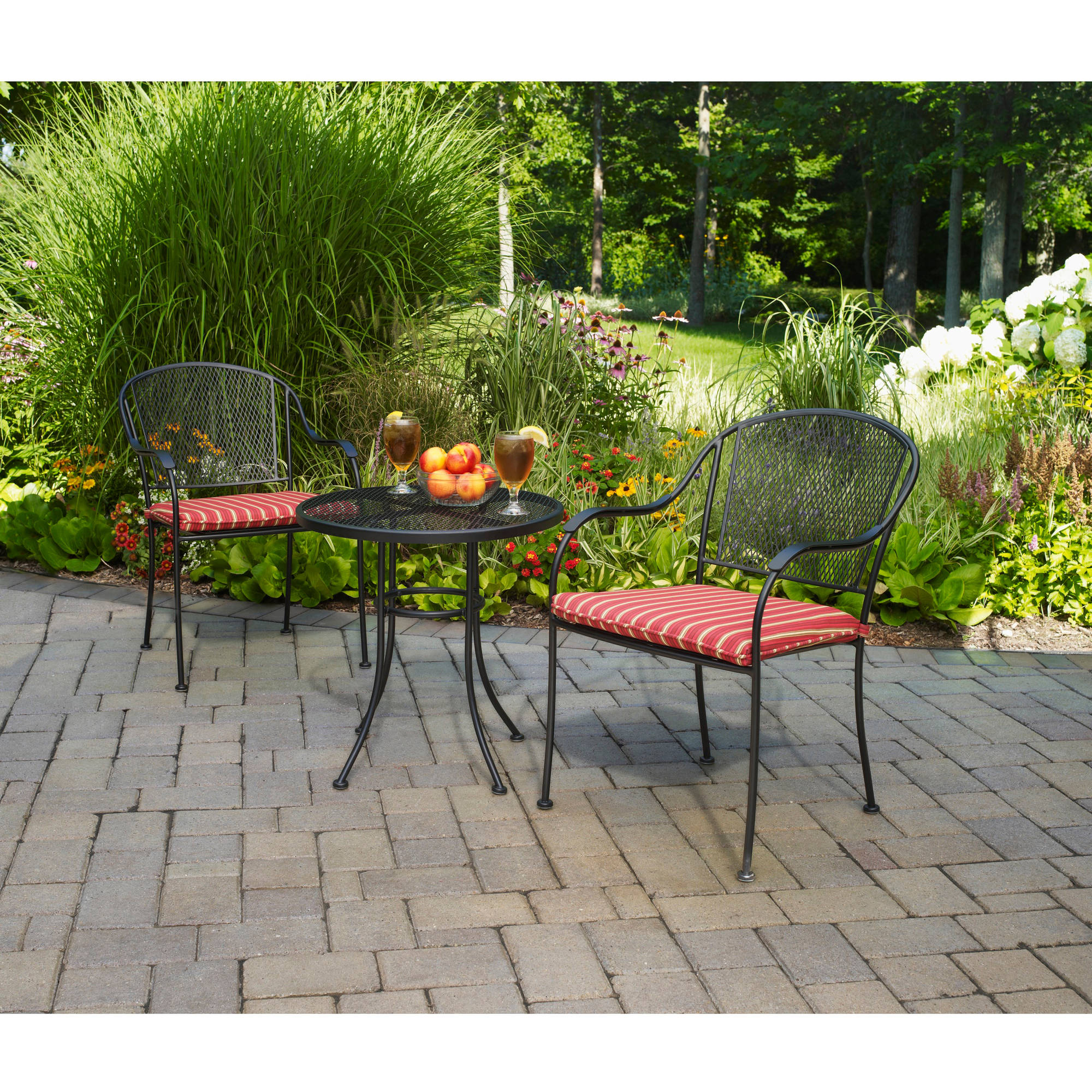 Details About Mainstays Wrought Iron 3 Piece Outdoor Bistro Set Seats 2