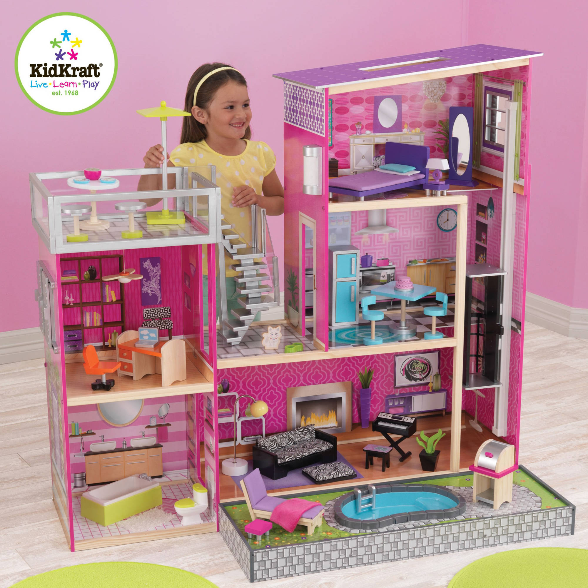 Kidkraft Uptown Wooden Dollhouse With 35 Pieces Of Furniture Ebay