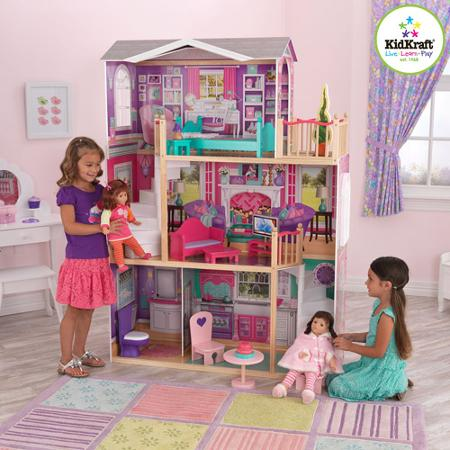 Details About Kidkraft Elegant Wooden Doll Manor With 12 Pieces Of Furniture For 18 Dolls