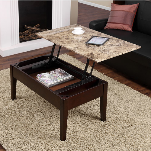 New Faux Marble Lift Top Coffee Table Espresso Solid Wood With