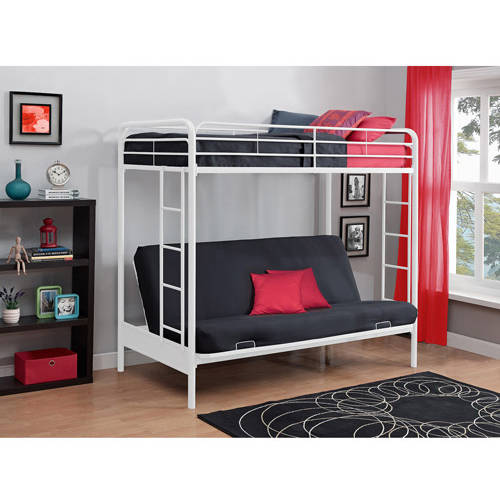 Picture 1 of 1. Bunk Twin Over Full DHP White Metal Bed Bedroom Ladder Durable