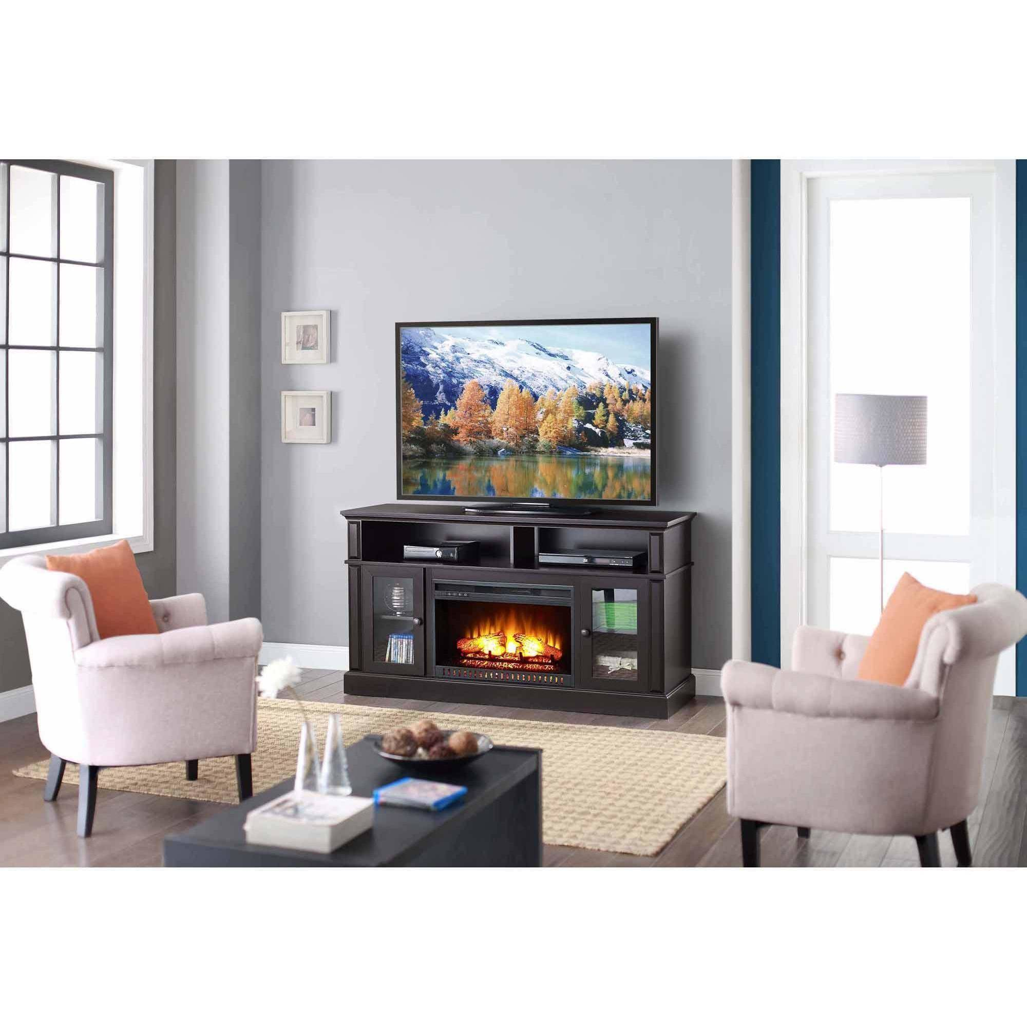 tv stand media fireplace 70 entertainment storage wood console electric heater 764053506017 ebay. Black Bedroom Furniture Sets. Home Design Ideas