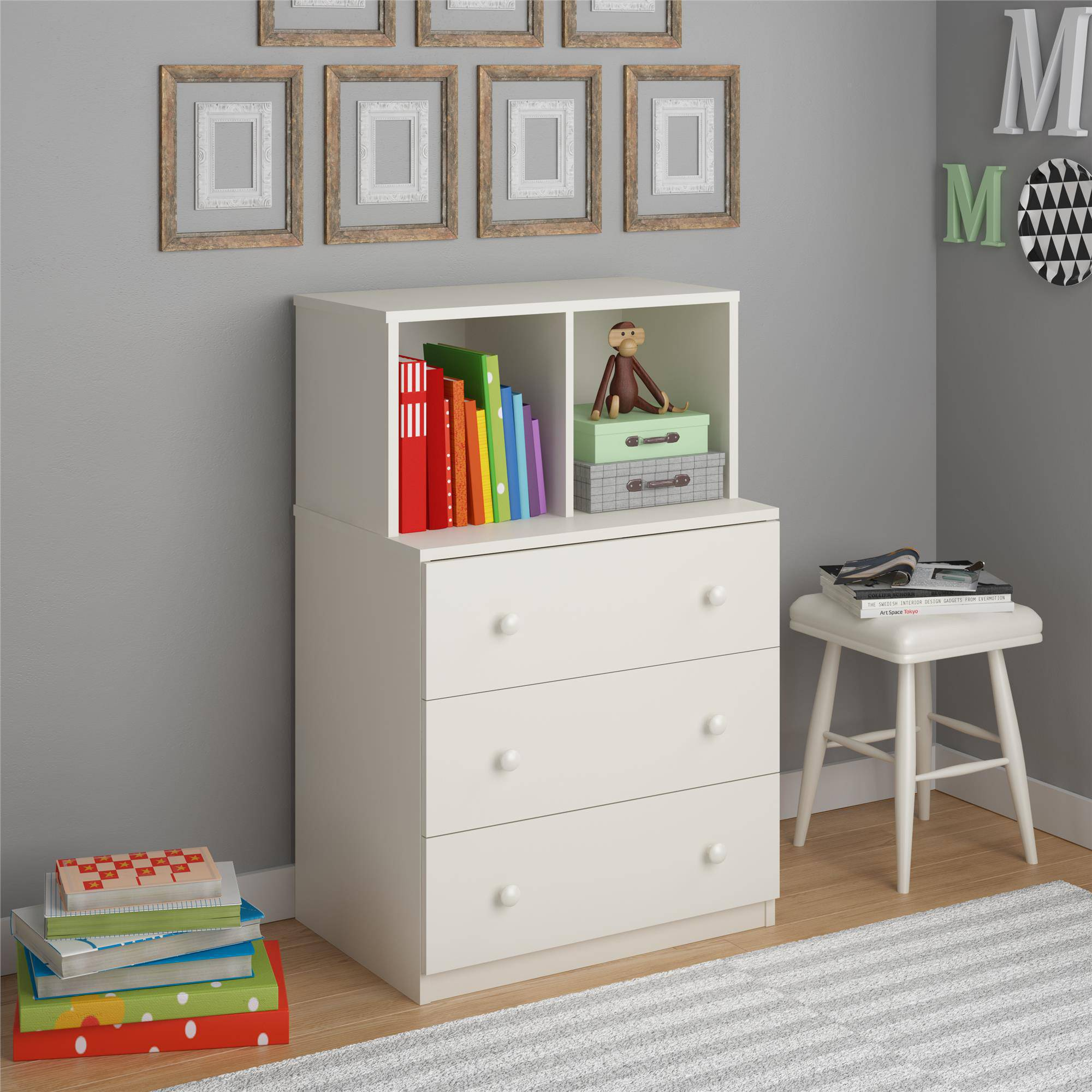 3 Drawer Dresser Cubby Storage Bins White Wood Bookcase Toy Chest Shelf  Cabinet