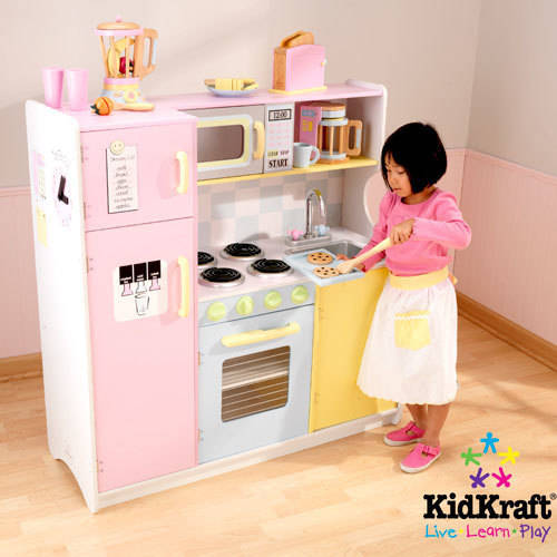 Large Play Kitchen: KidKraft Large Pastel Wooden Play Kitchen With 3 Piece