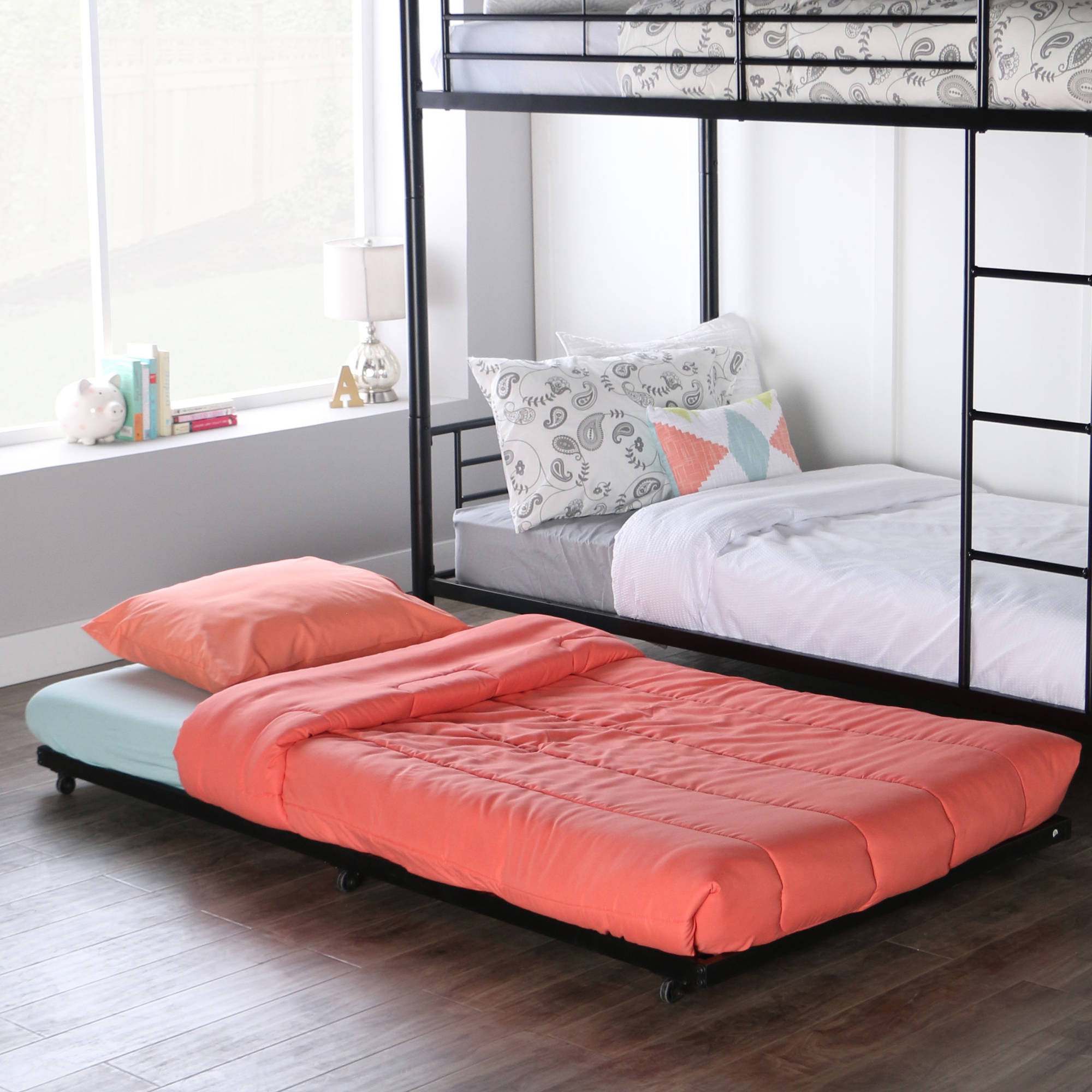 Picture of: Walker Edison Twin Roll Out Metal Trundle Bed Frame Black Ebay