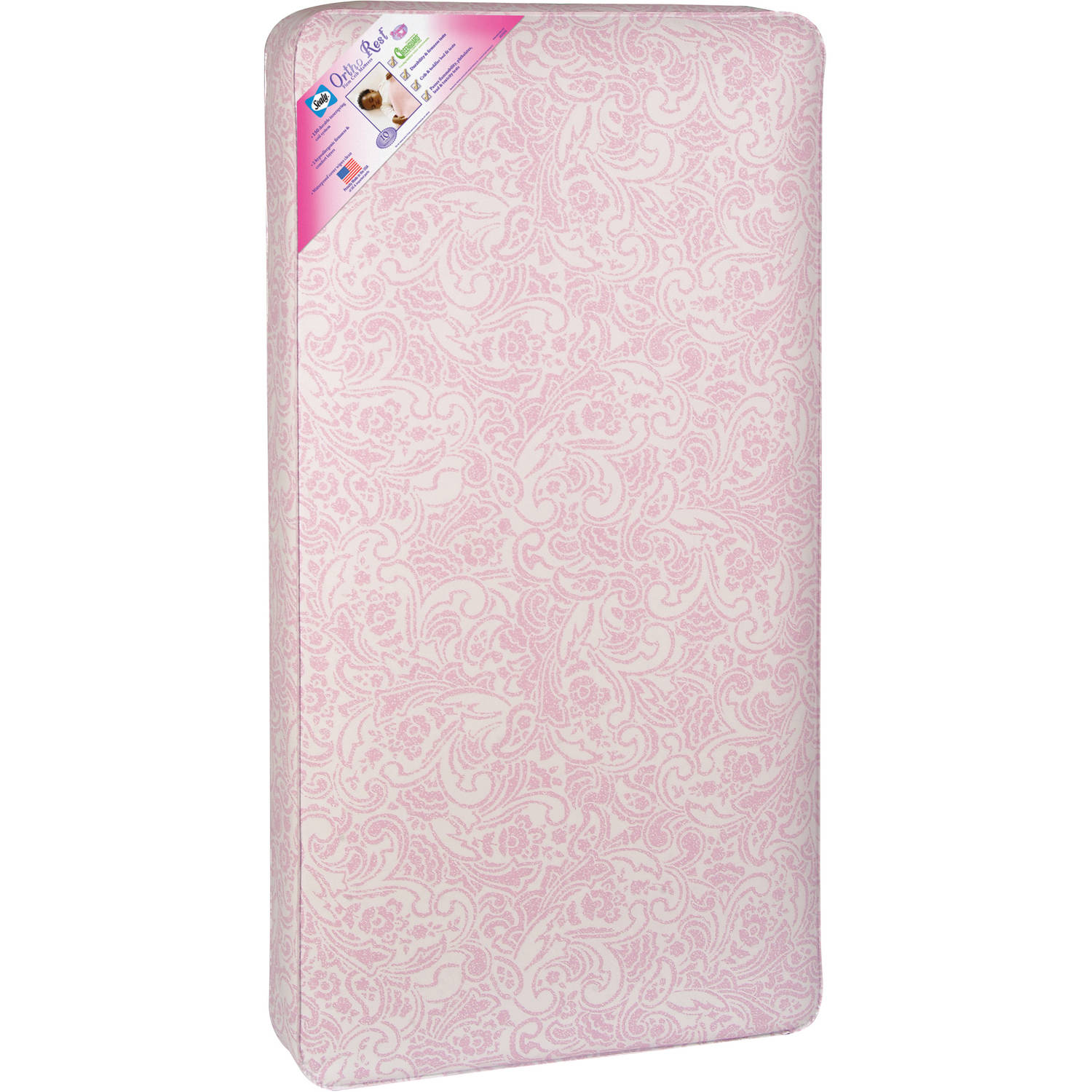 Crib Mattress 150 Coil Sealy Ortho Rest infants and toddlers Pink