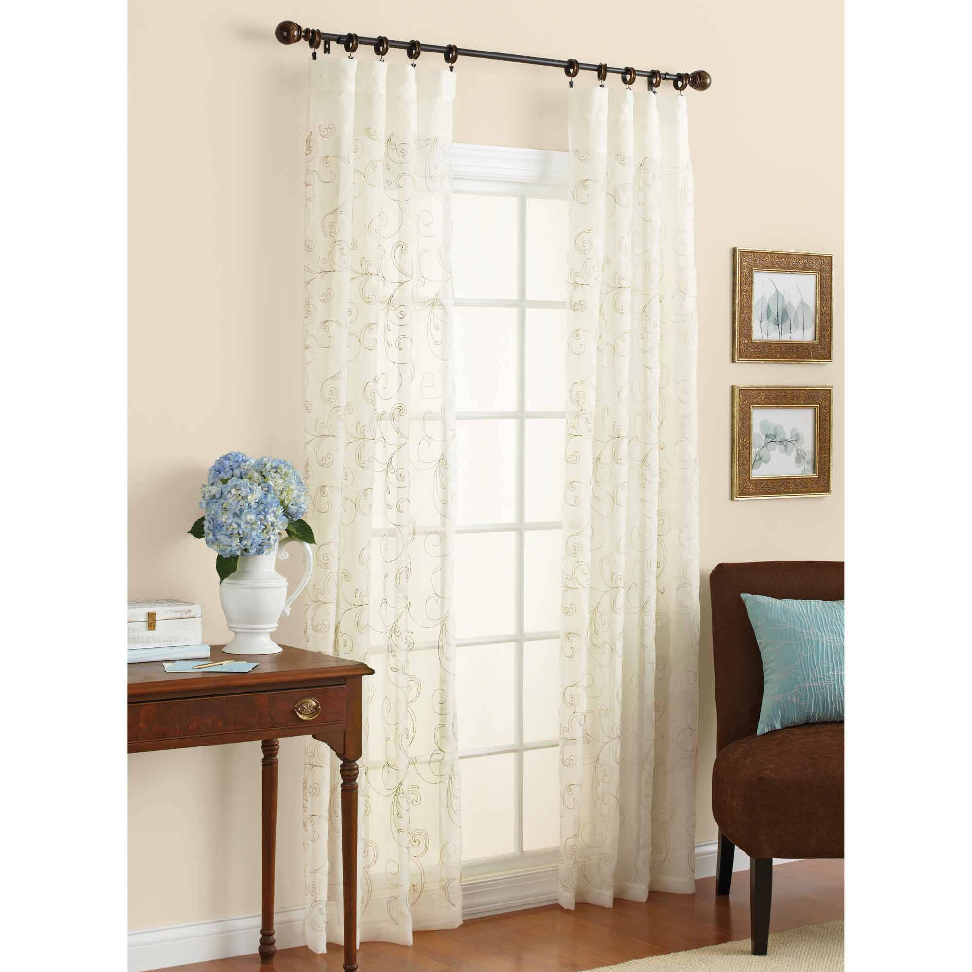 Better Homes and Gardens Embroidered Sheer Curtain Panel | eBay