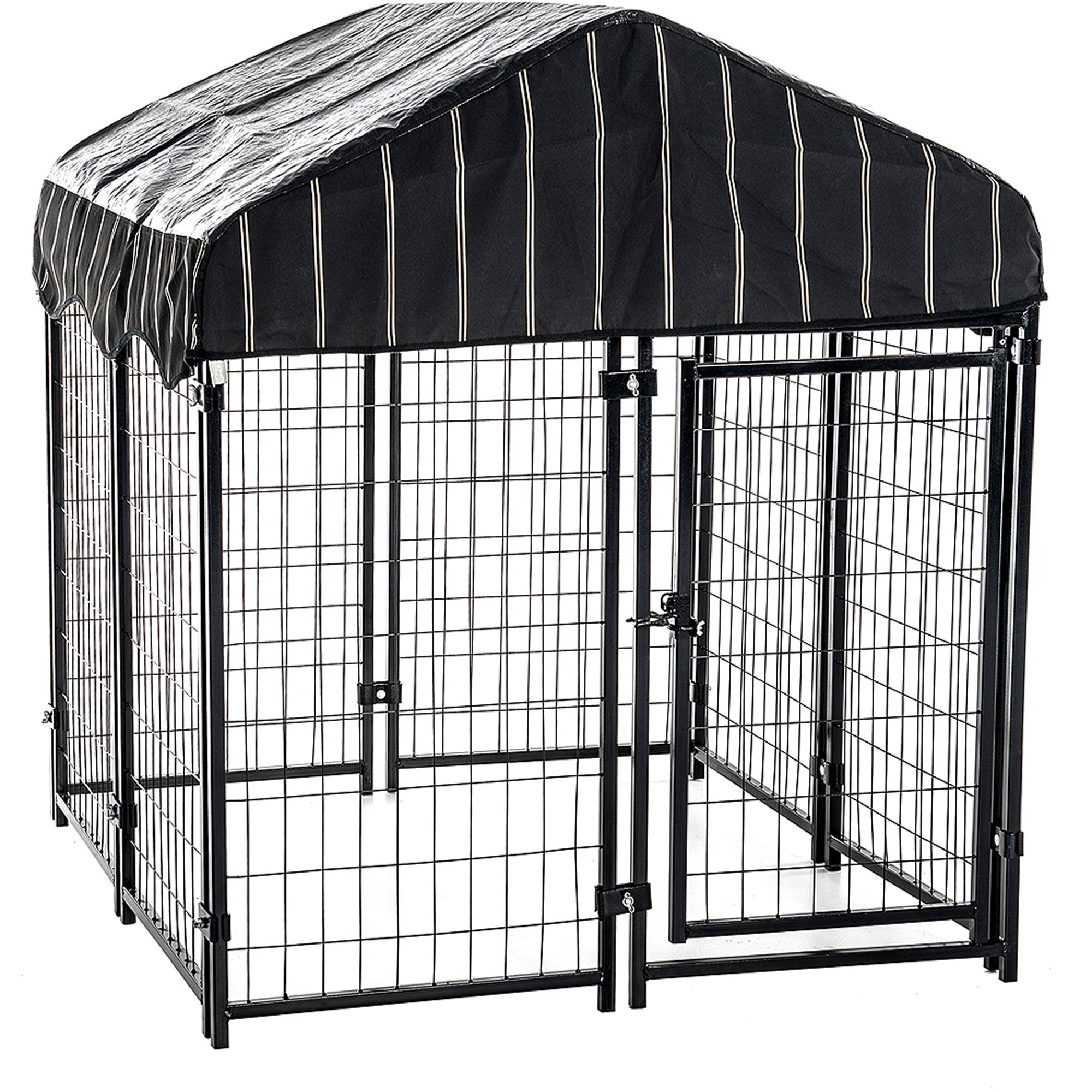 Outdoor Pet Cage Dog Kennel Steel Wire Pen Run House Covered Shade ...