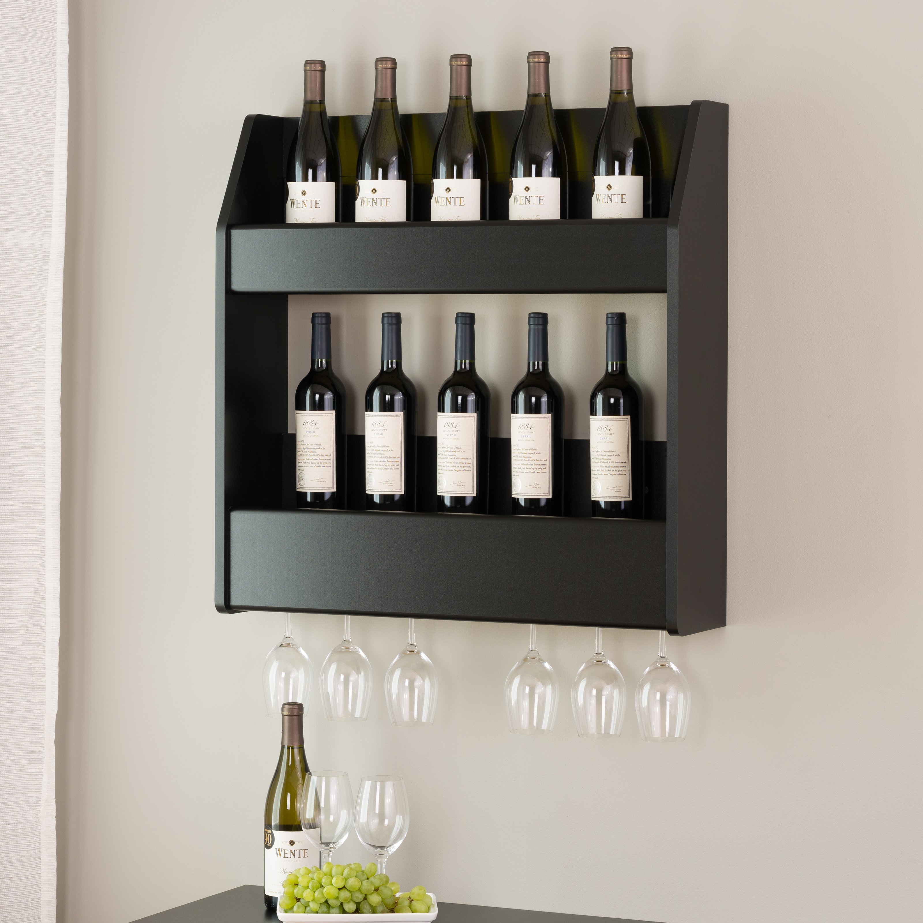 Image Is Loading 2 Tier Floating Wine And Liquor Rack Multiple